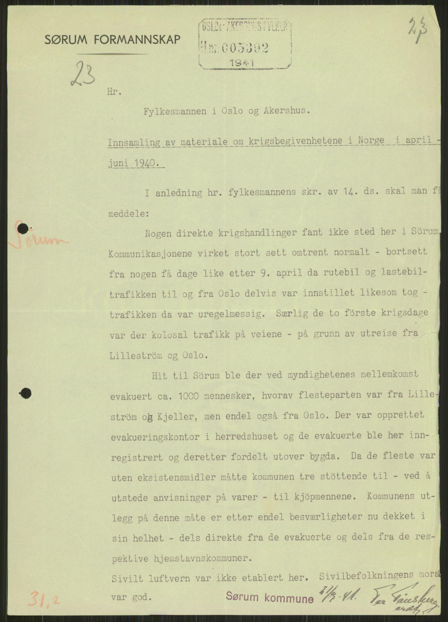 RA, Forsvaret, Forsvarets krigshistoriske avdeling, Y/Ya/L0013: II-C-11-31 - Fylkesmenn.  Rapporter om krigsbegivenhetene 1940., 1940, s. 836