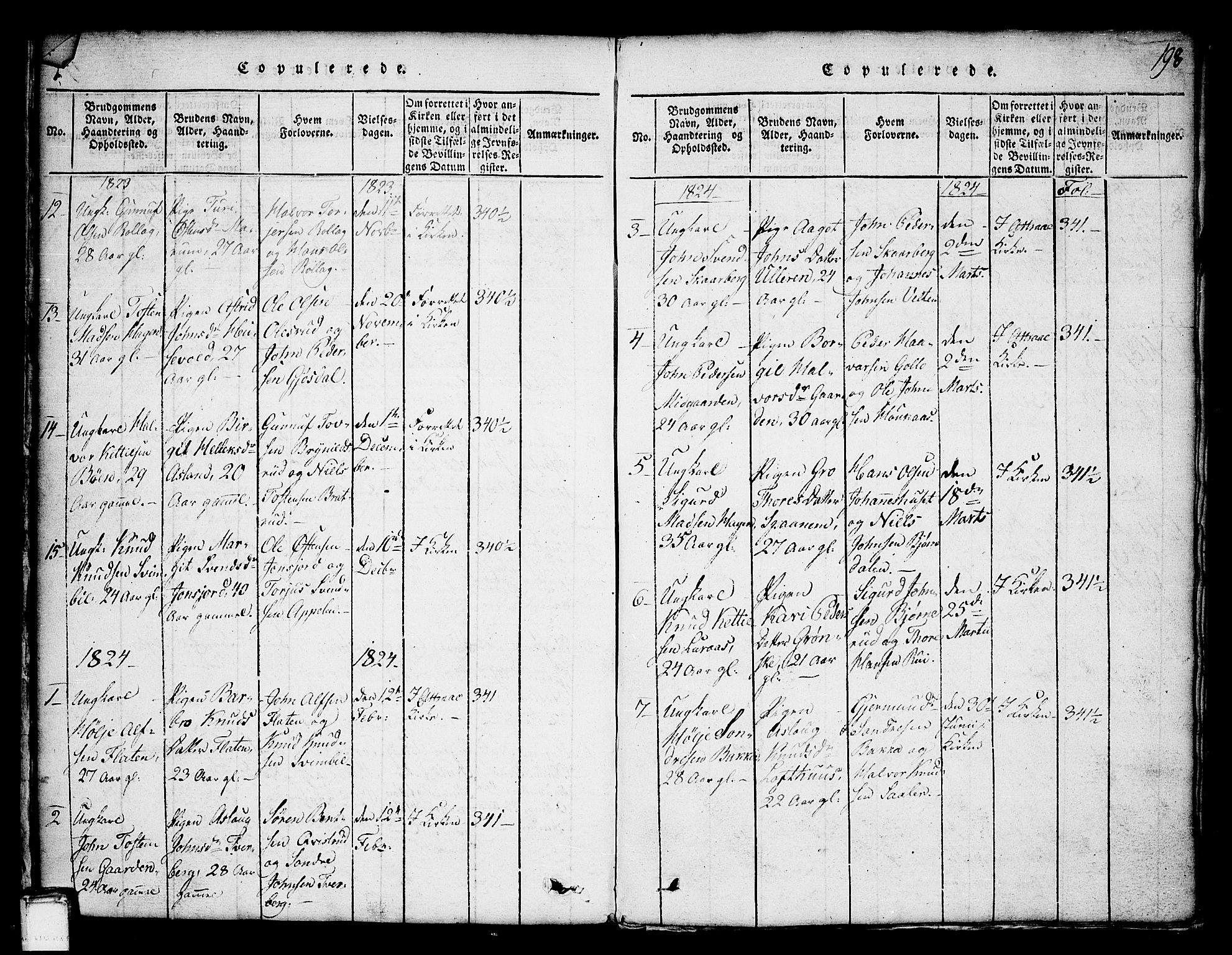 SAKO, Tinn kirkebøker, G/Ga/L0001: Klokkerbok nr. I 1, 1815-1850, s. 198