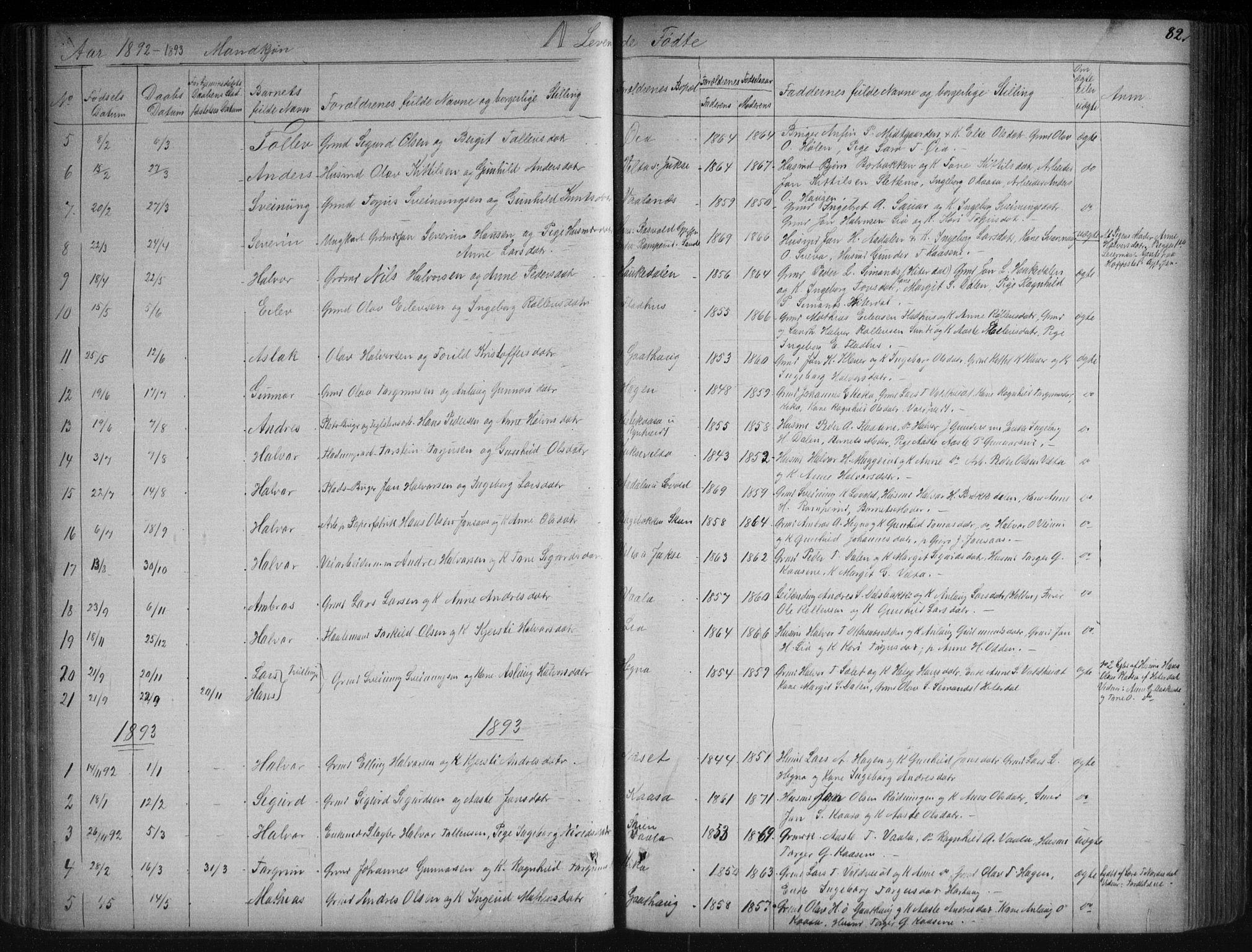 SAKO, Sauherad kirkebøker, G/Ga/L0003: Klokkerbok nr. I 3, 1866-1905, s. 82