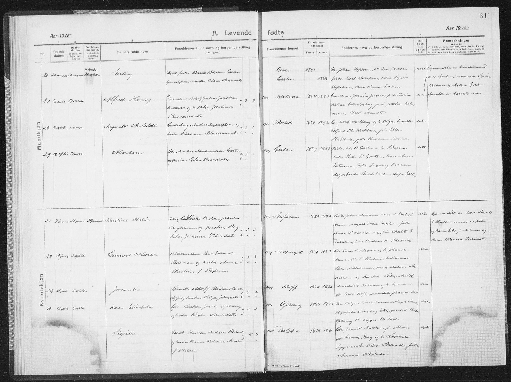 SAT, Ministerialprotokoller, klokkerbøker og fødselsregistre - Sør-Trøndelag, 659/L0747: Klokkerbok nr. 659C04, 1913-1938, s. 31