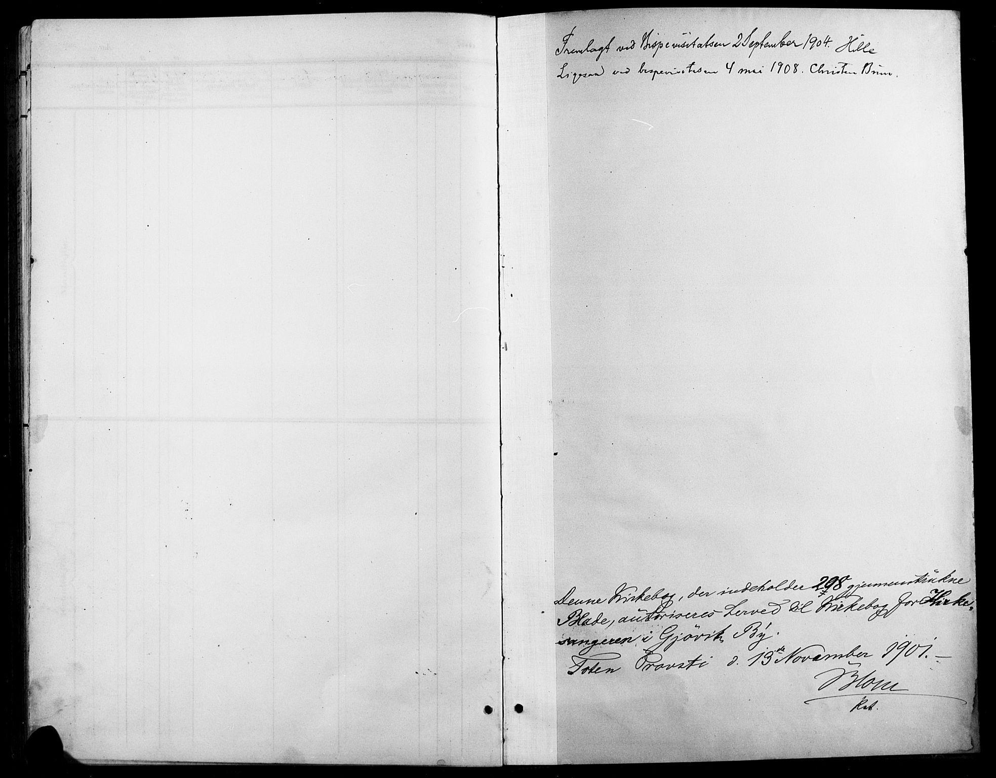 SAH, Vardal prestekontor, H/Ha/Hab/L0012: Klokkerbok nr. 12, 1902-1911