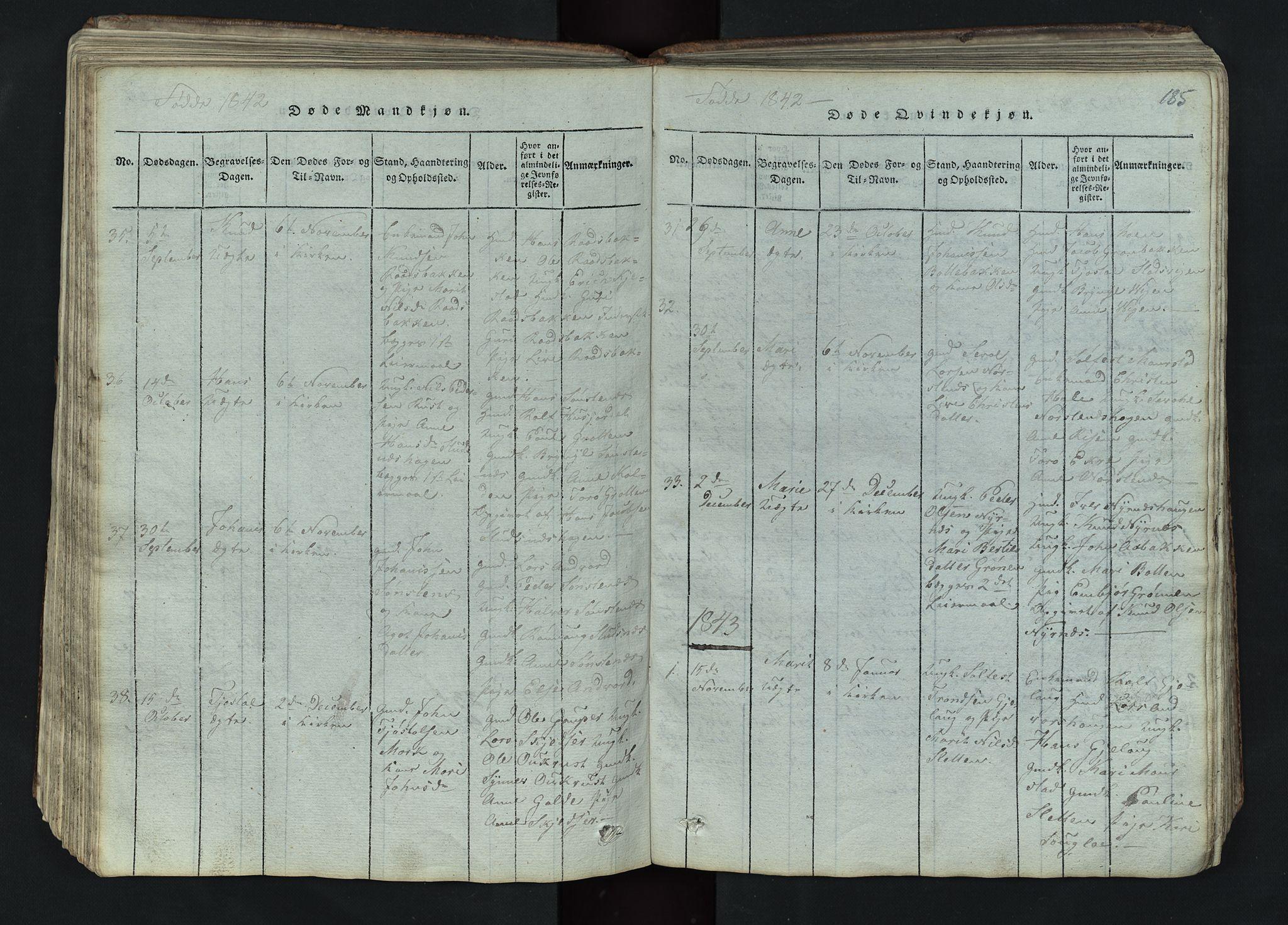 SAH, Lom prestekontor, L/L0002: Klokkerbok nr. 2, 1815-1844, s. 185