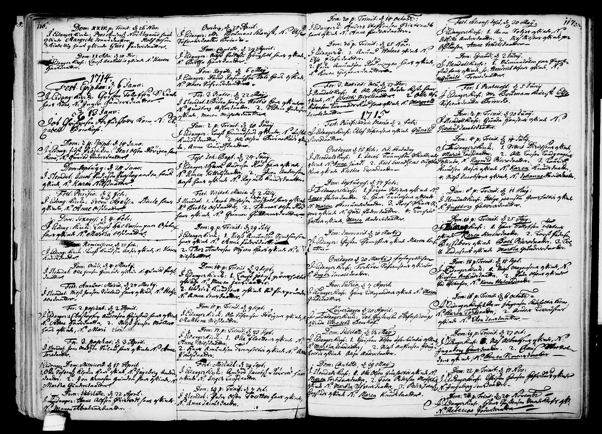 SAKO, Eidanger kirkebøker, F/Fa/L0002: Ministerialbok nr. 2, 1712-1720, s. 116-117