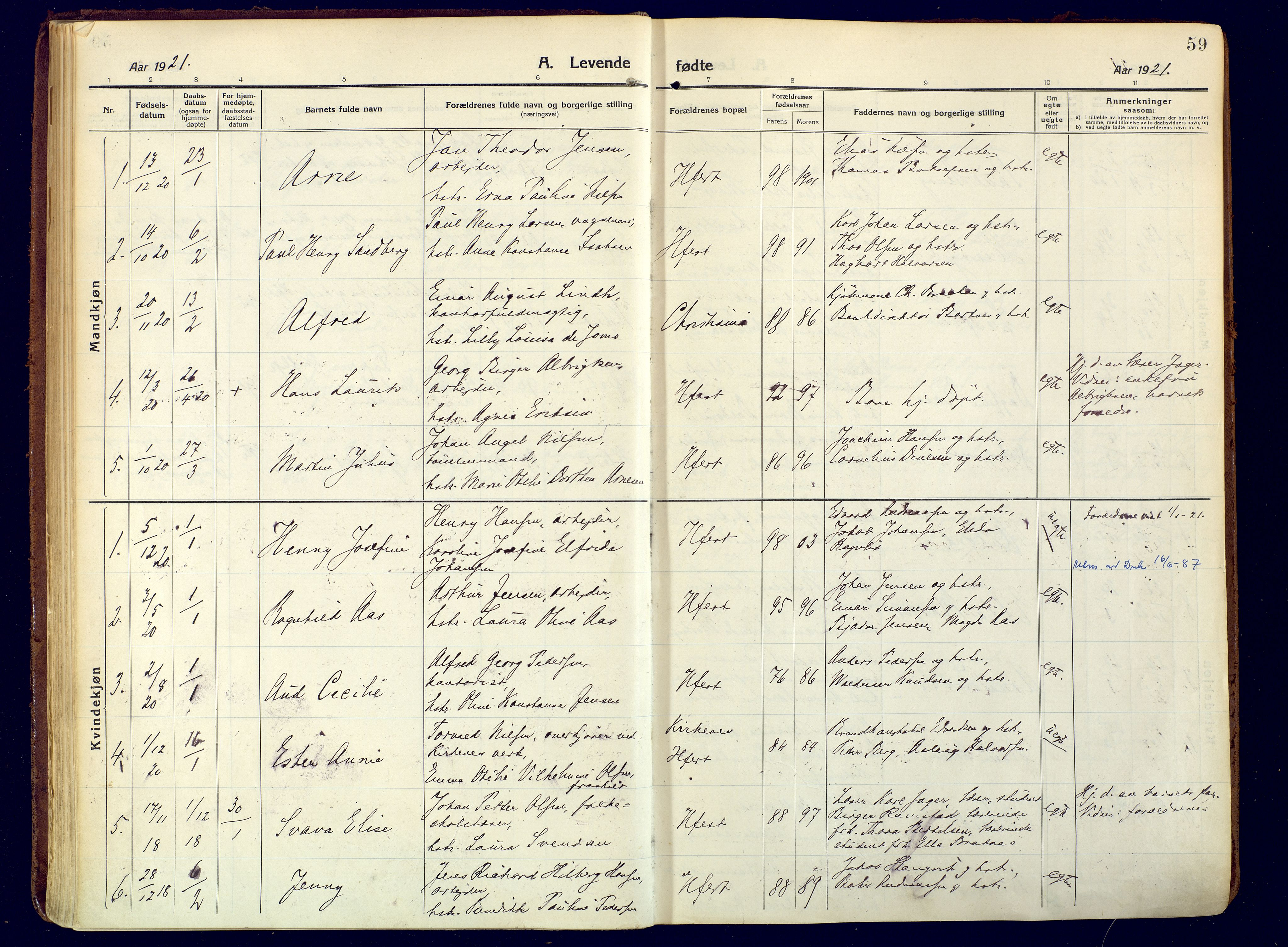 SATØ, Hammerfest sokneprestembete, Ministerialbok nr. 15, 1916-1923, s. 59