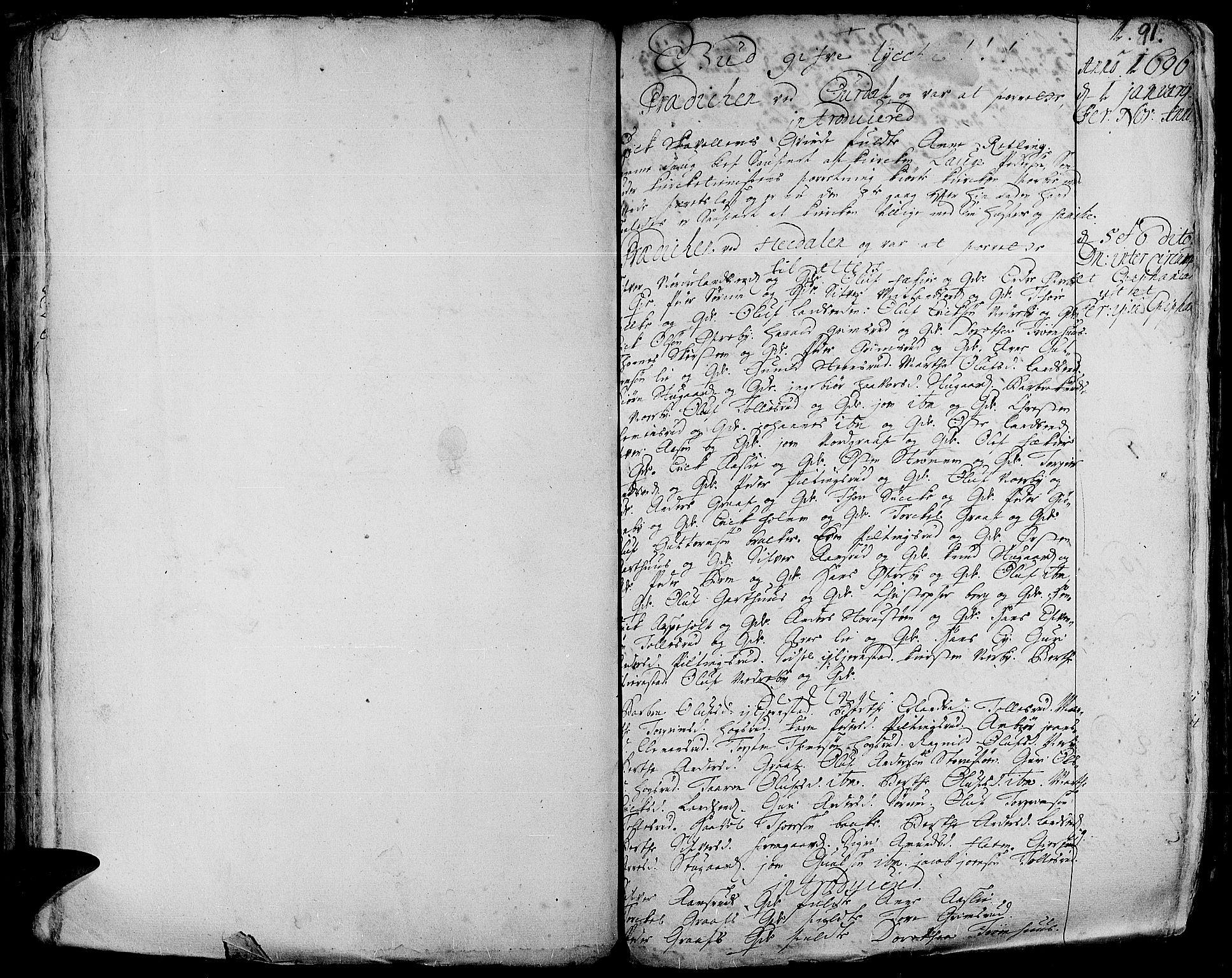 SAH, Aurdal prestekontor, Ministerialbok nr. 1-3, 1692-1730, s. 91