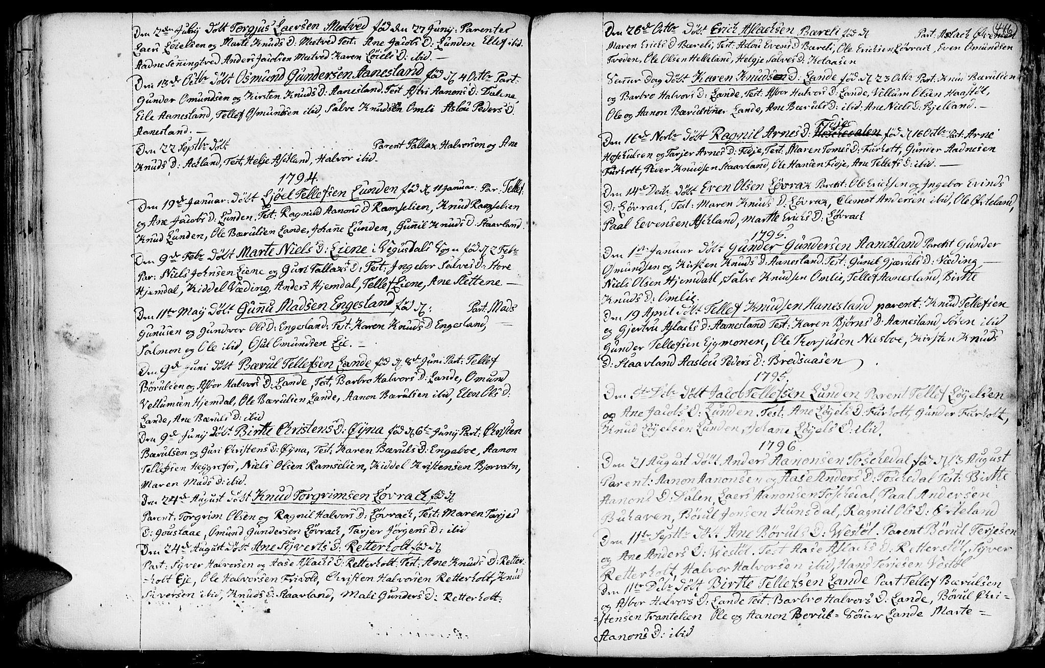 SAK, Hommedal sokneprestkontor, F/Fa/Fab/L0002: Ministerialbok nr. A 2 /3, 1740-1821, s. 446