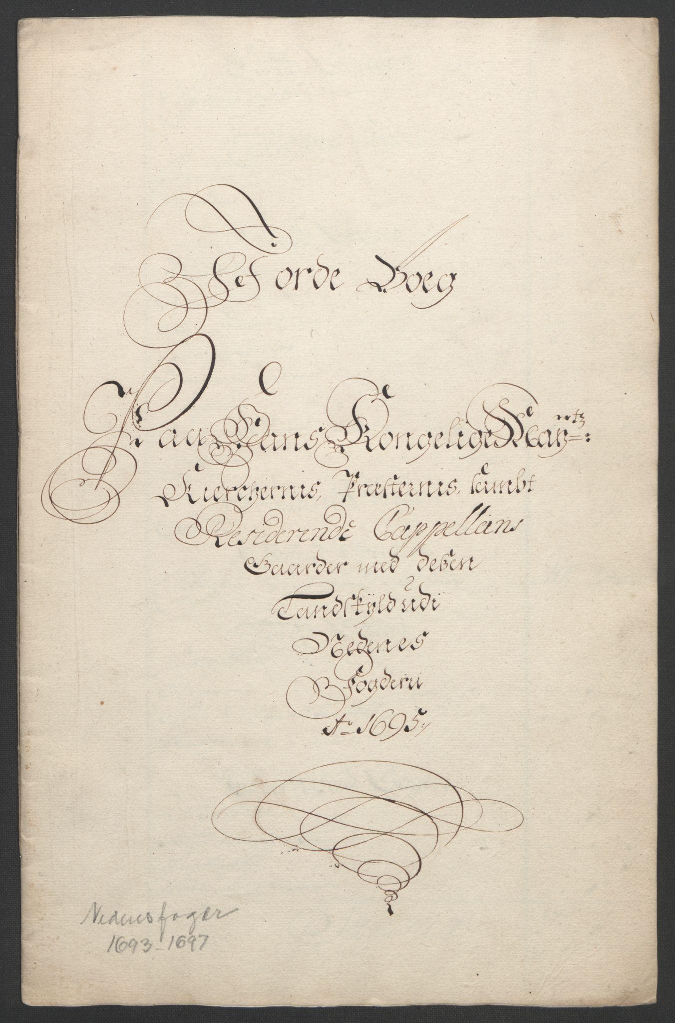 RA, Rentekammeret inntil 1814, Reviderte regnskaper, Fogderegnskap, R39/L2312: Fogderegnskap Nedenes, 1693-1695, s. 235