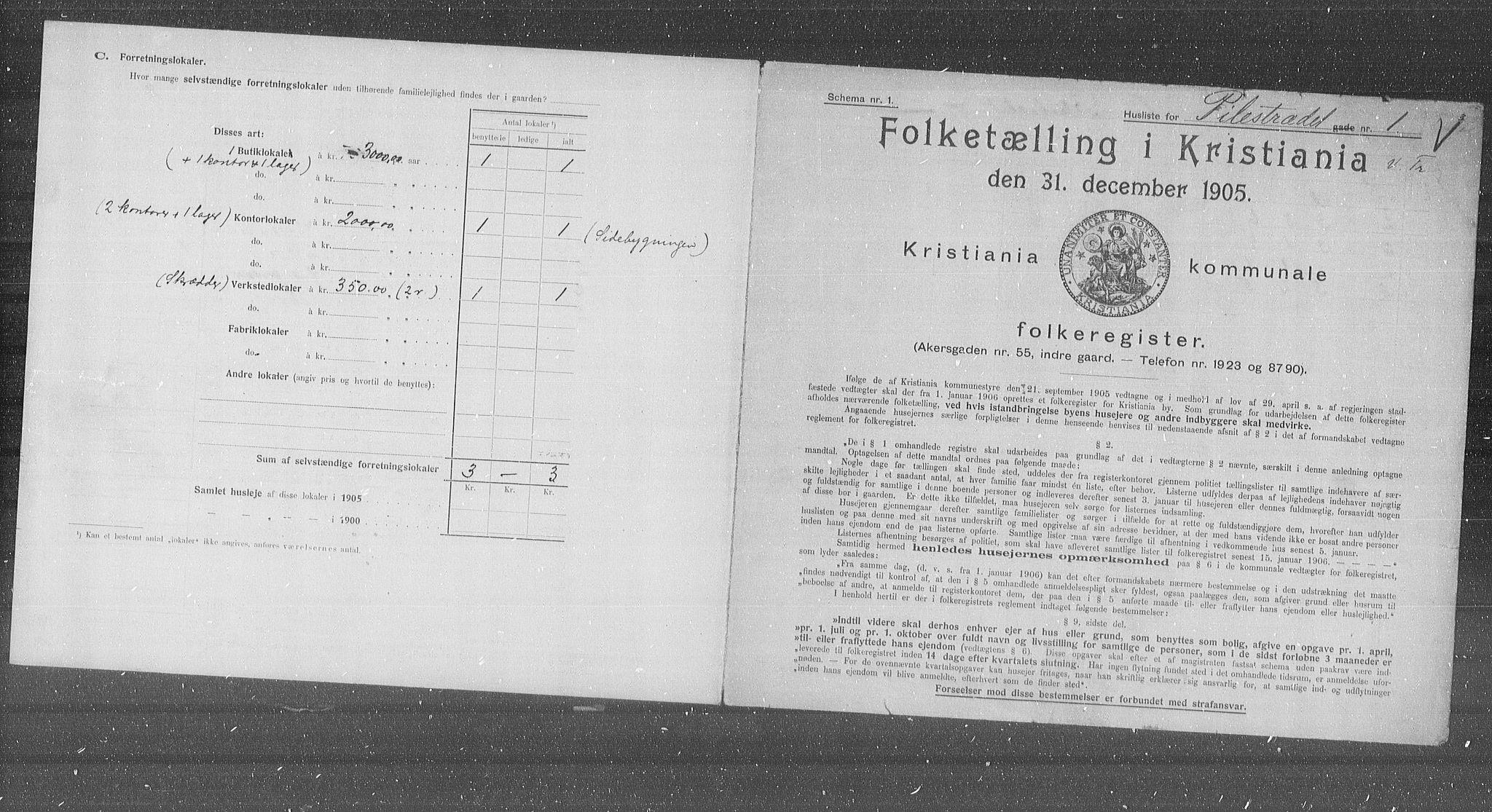 OBA, Kommunal folketelling 1905 for Kristiania kjøpstad, 1905, s. 41455