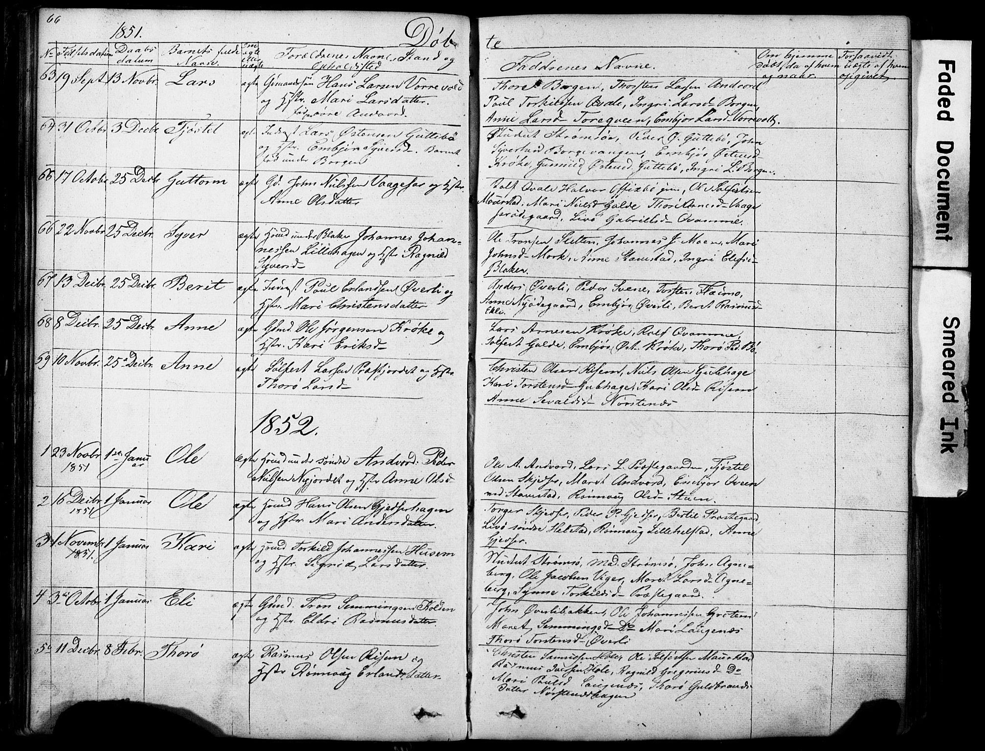 SAH, Lom prestekontor, L/L0012: Klokkerbok nr. 12, 1845-1873, s. 66-67