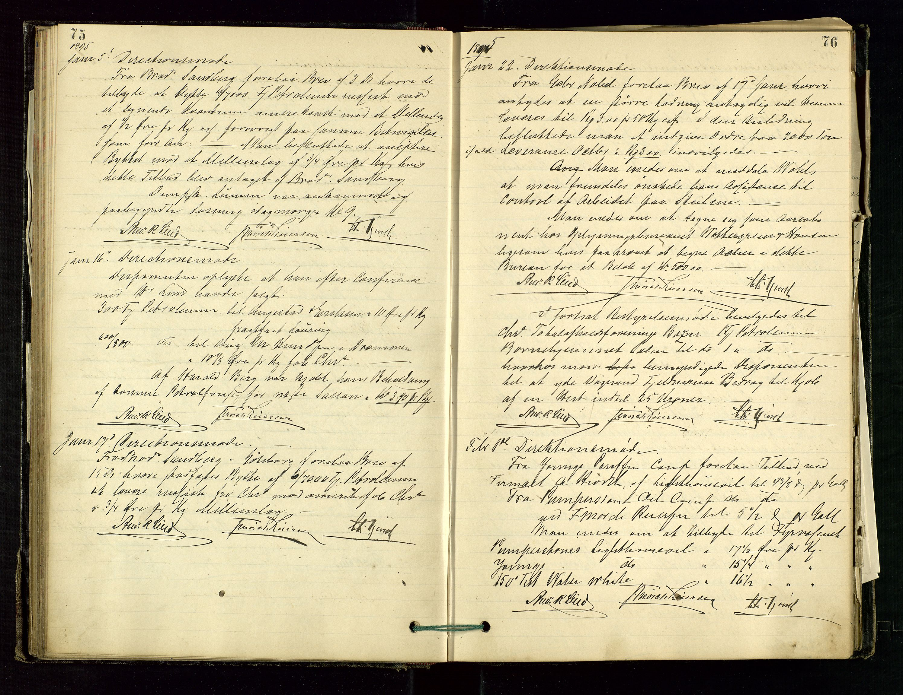 SAST, PA 1534 - Østlandske Petroleumscompagni A/S, A/Aa/L0001: Generalforsamlinger og direksjonsprotokoller., 1892-1905, s. 75-76