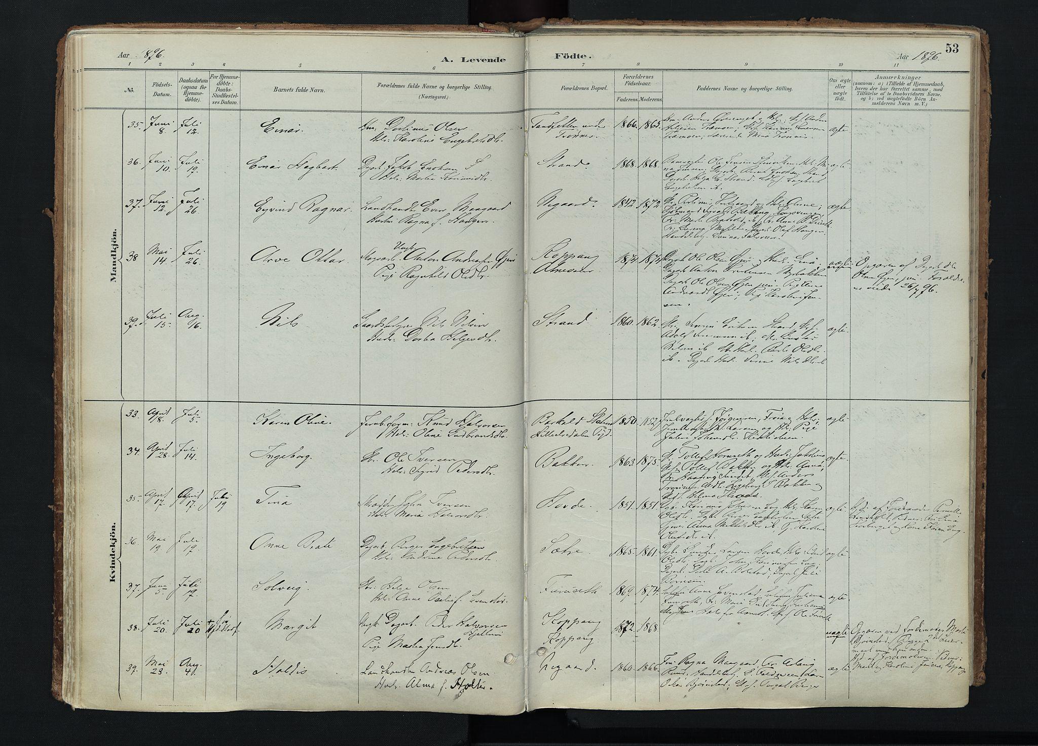 SAH, Stor-Elvdal prestekontor, Ministerialbok nr. 4, 1890-1922, s. 53