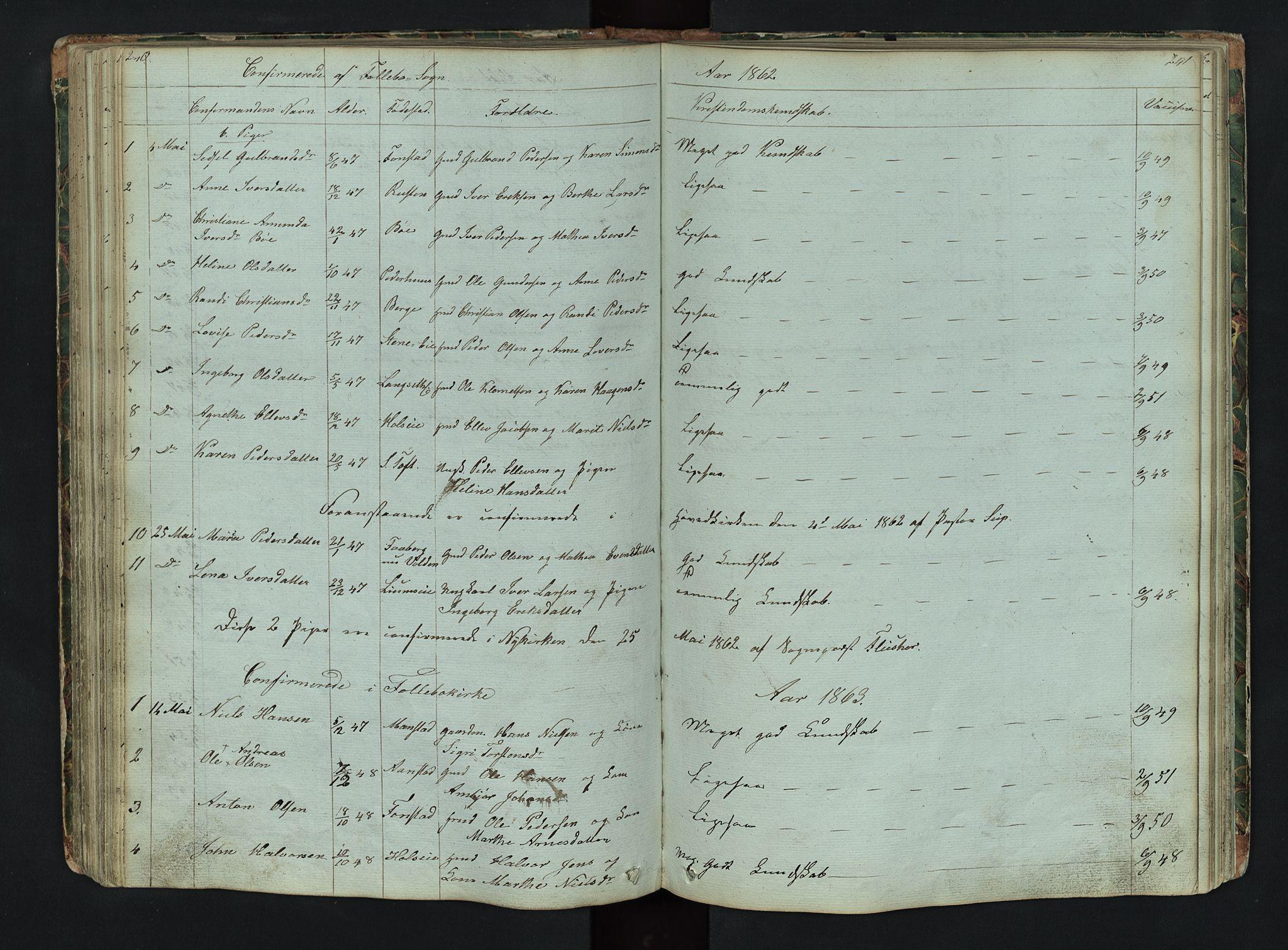 SAH, Gausdal prestekontor, Klokkerbok nr. 6, 1846-1893, s. 240-241