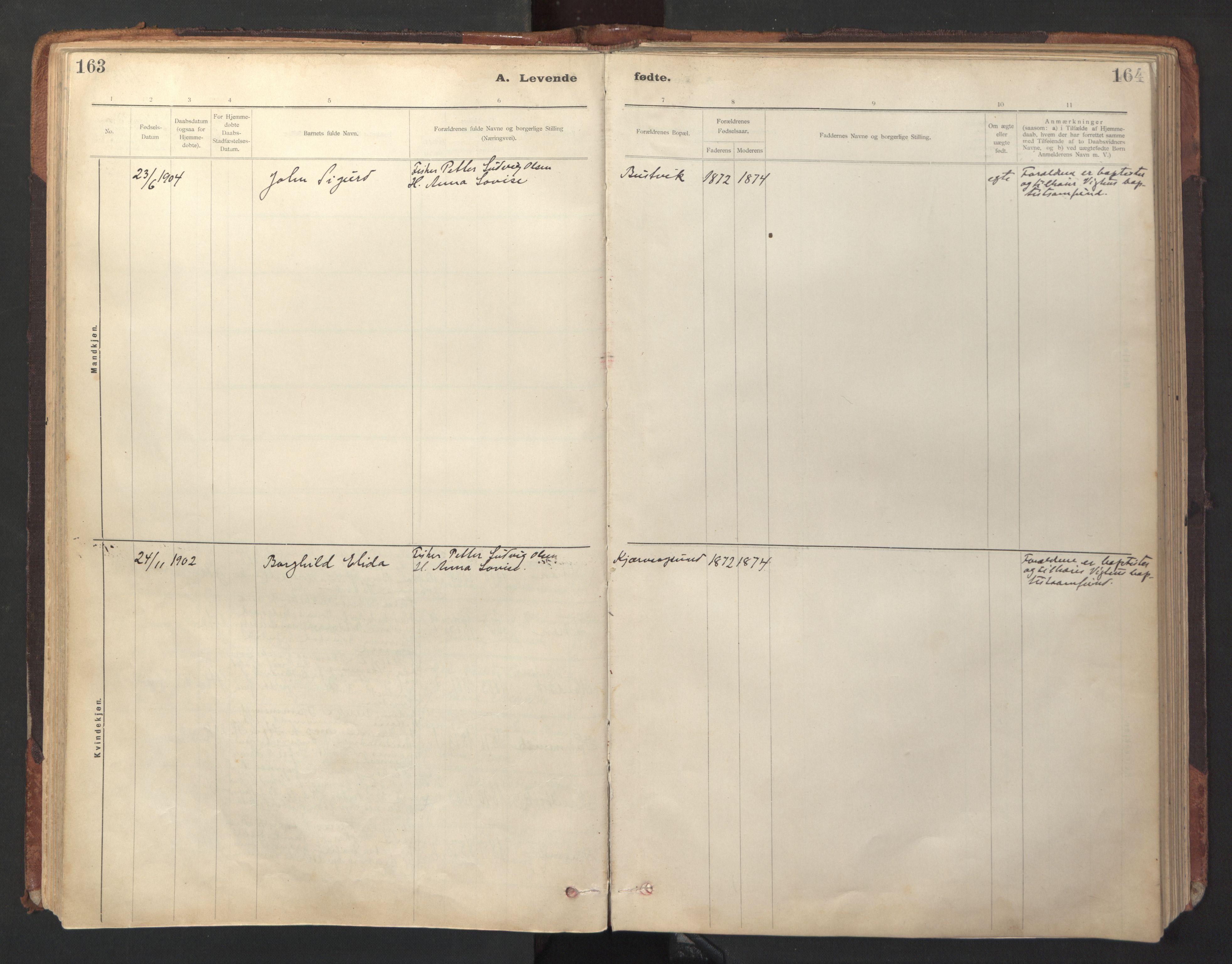 SAT, Ministerialprotokoller, klokkerbøker og fødselsregistre - Sør-Trøndelag, 641/L0596: Ministerialbok nr. 641A02, 1898-1915, s. 163-164