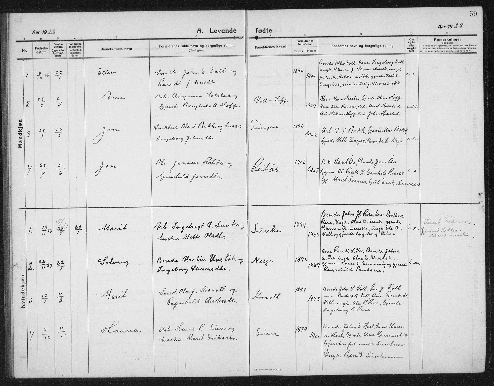 SAT, Ministerialprotokoller, klokkerbøker og fødselsregistre - Sør-Trøndelag, 674/L0877: Klokkerbok nr. 674C04, 1913-1940, s. 59