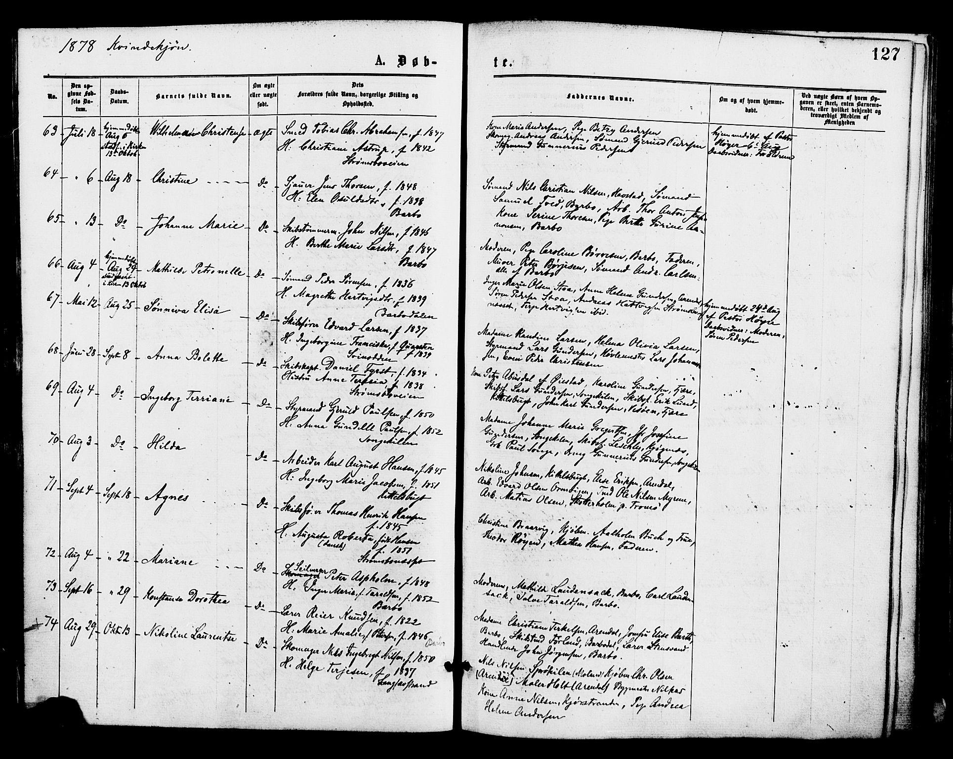 SAK, Barbu sokneprestkontor, F/Fa/L0001: Ministerialbok nr. A 1 /1, 1878-1883, s. 127