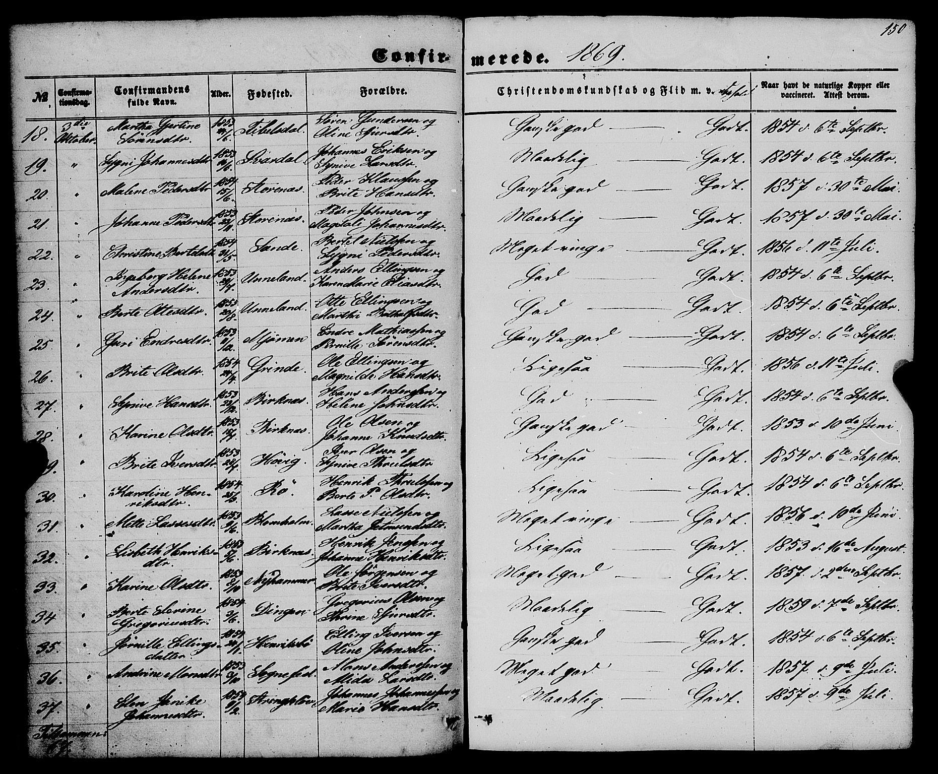 SAB, Gulen Sokneprestembete, Ministerialbok nr. A 22, 1859-1869, s. 150