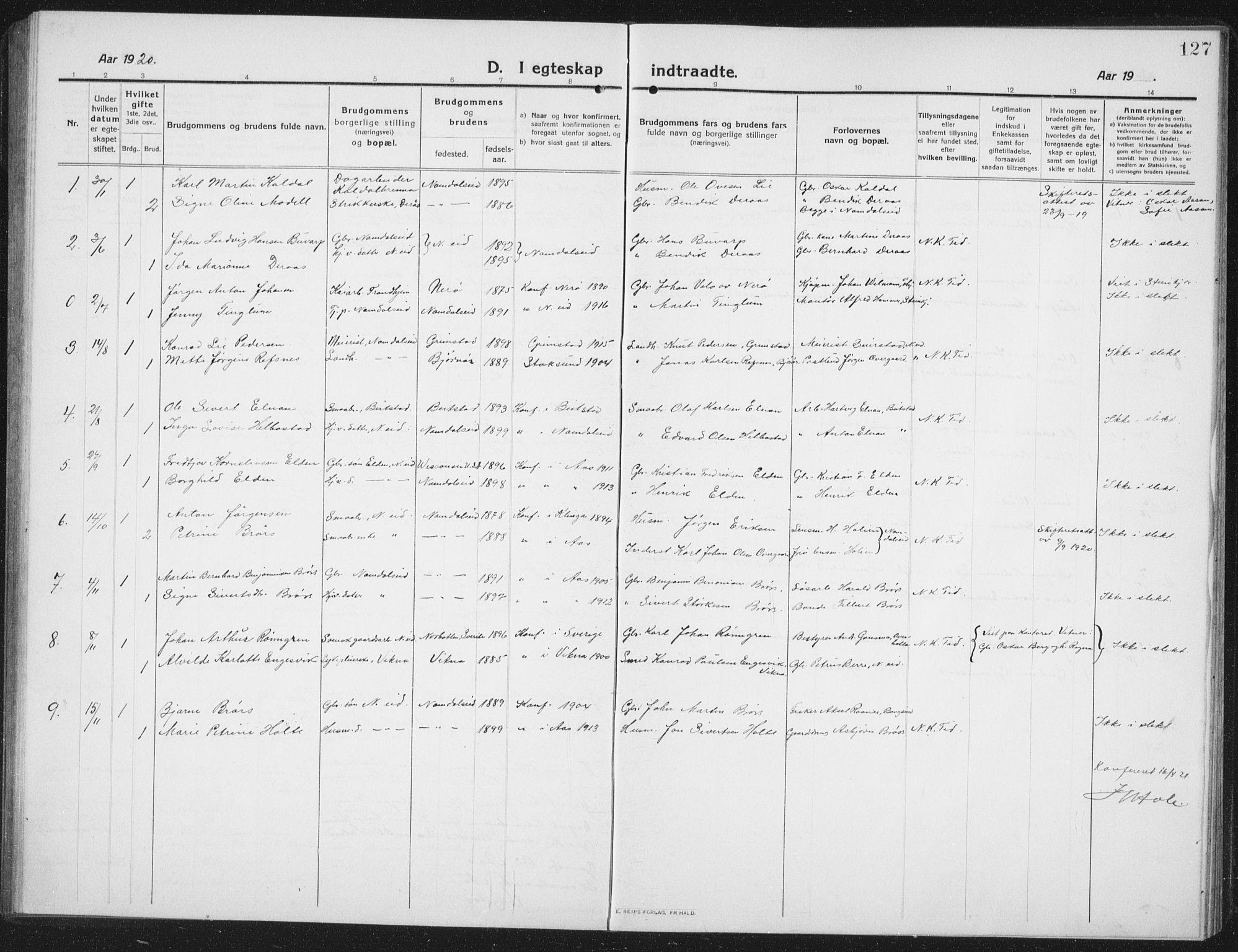SAT, Ministerialprotokoller, klokkerbøker og fødselsregistre - Nord-Trøndelag, 742/L0413: Klokkerbok nr. 742C04, 1911-1938, s. 127