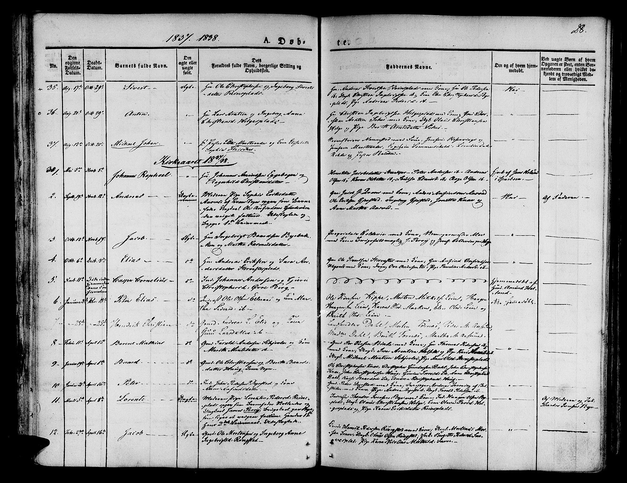 SAT, Ministerialprotokoller, klokkerbøker og fødselsregistre - Nord-Trøndelag, 746/L0445: Ministerialbok nr. 746A04, 1826-1846, s. 28