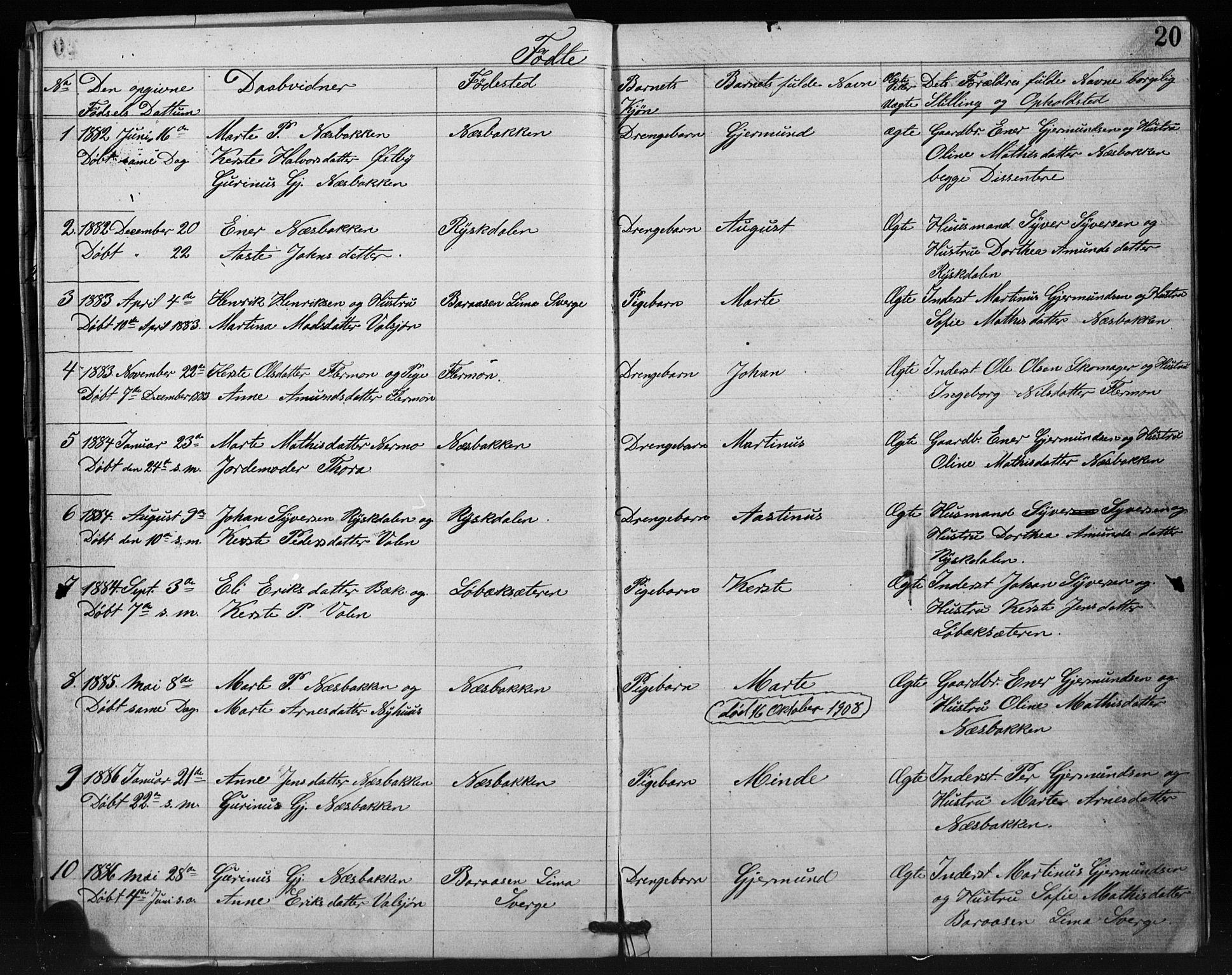 SAH, Misjonsforbundet, 01/L0002: Dissenterprotokoll nr. 2, 1882-1892, s. 20