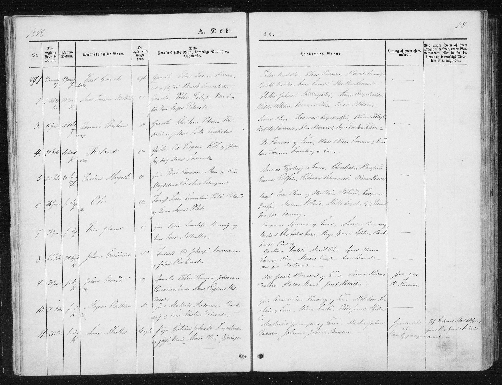 SAT, Ministerialprotokoller, klokkerbøker og fødselsregistre - Nord-Trøndelag, 780/L0640: Ministerialbok nr. 780A05, 1845-1856, s. 28
