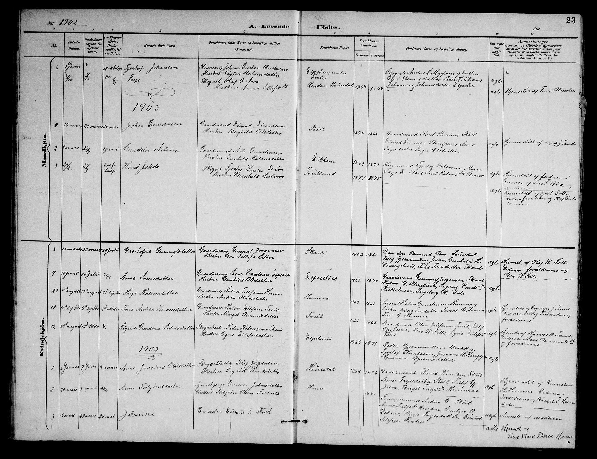 SAKO, Nissedal kirkebøker, G/Gb/L0003: Klokkerbok nr. II 3, 1893-1928, s. 23