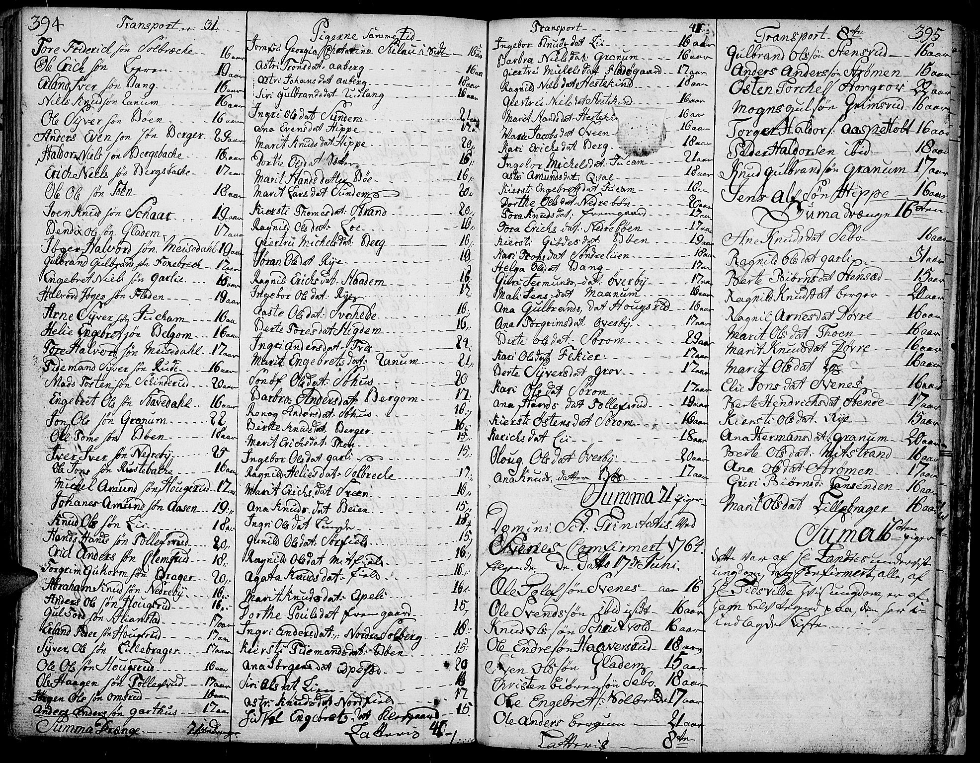 SAH, Aurdal prestekontor, Ministerialbok nr. 5, 1763-1781, s. 394-395