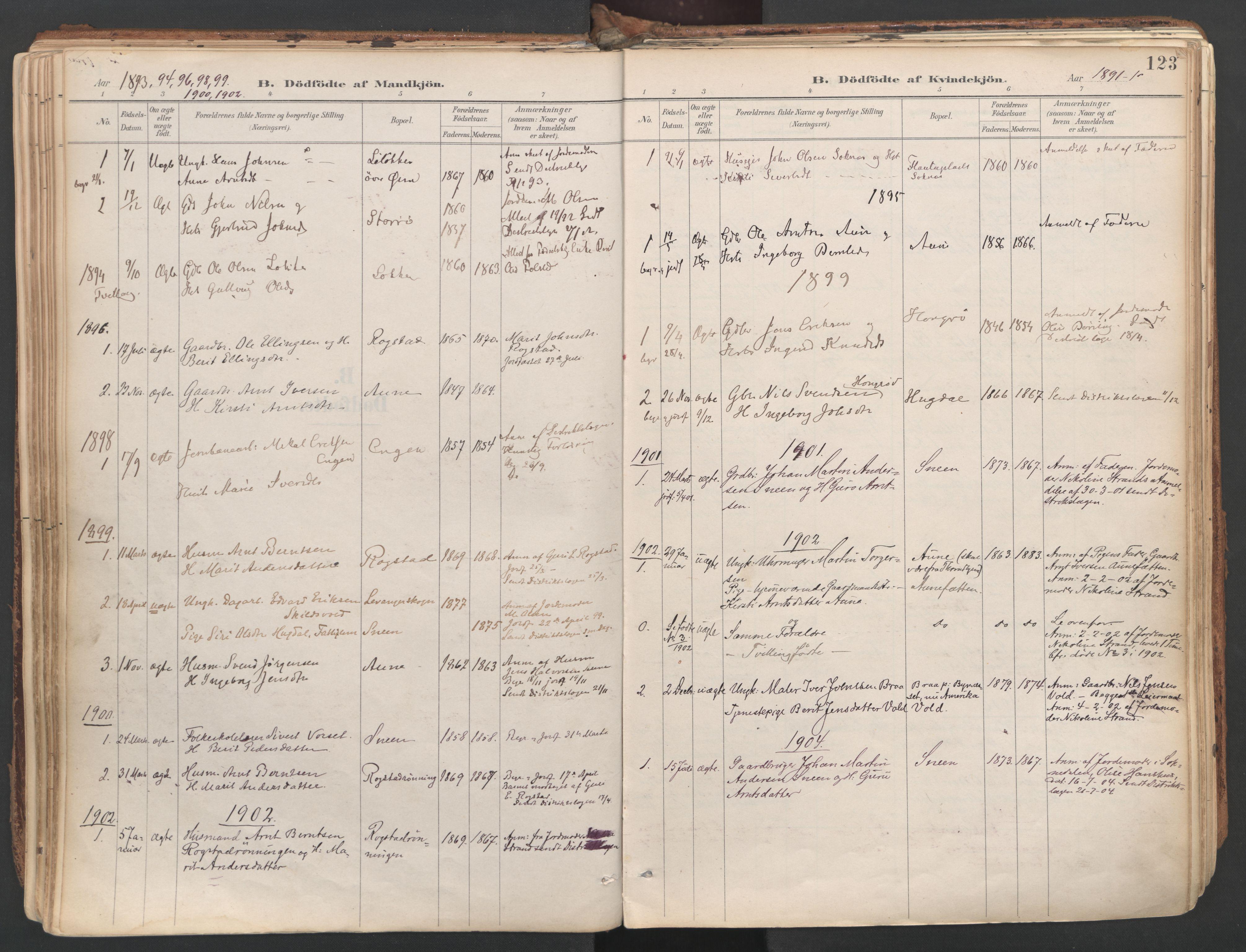 SAT, Ministerialprotokoller, klokkerbøker og fødselsregistre - Sør-Trøndelag, 687/L1004: Ministerialbok nr. 687A10, 1891-1923, s. 123