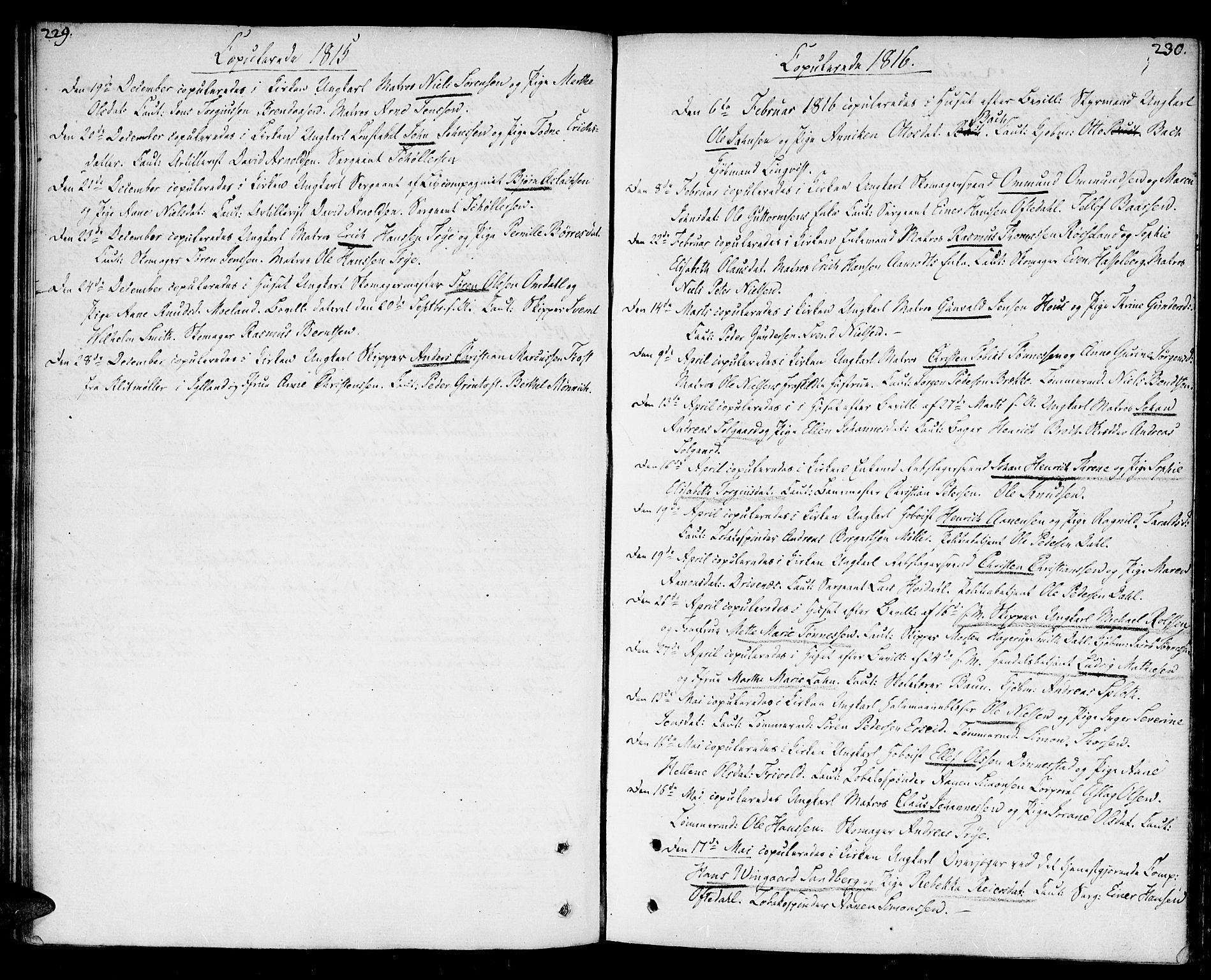 SAK, Kristiansand domprosti, F/Fa/L0005: Ministerialbok nr. A 5, 1776-1818, s. 229-230