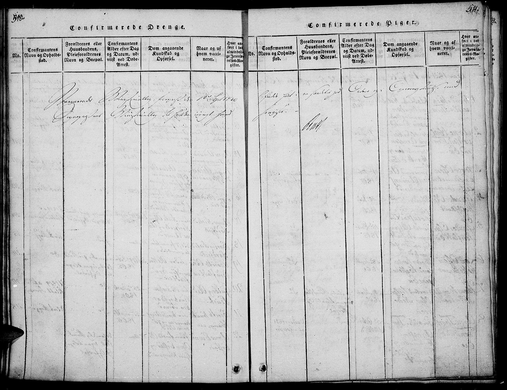 SAH, Sør-Aurdal prestekontor, Klokkerbok nr. 1, 1815-1826, s. 510-511