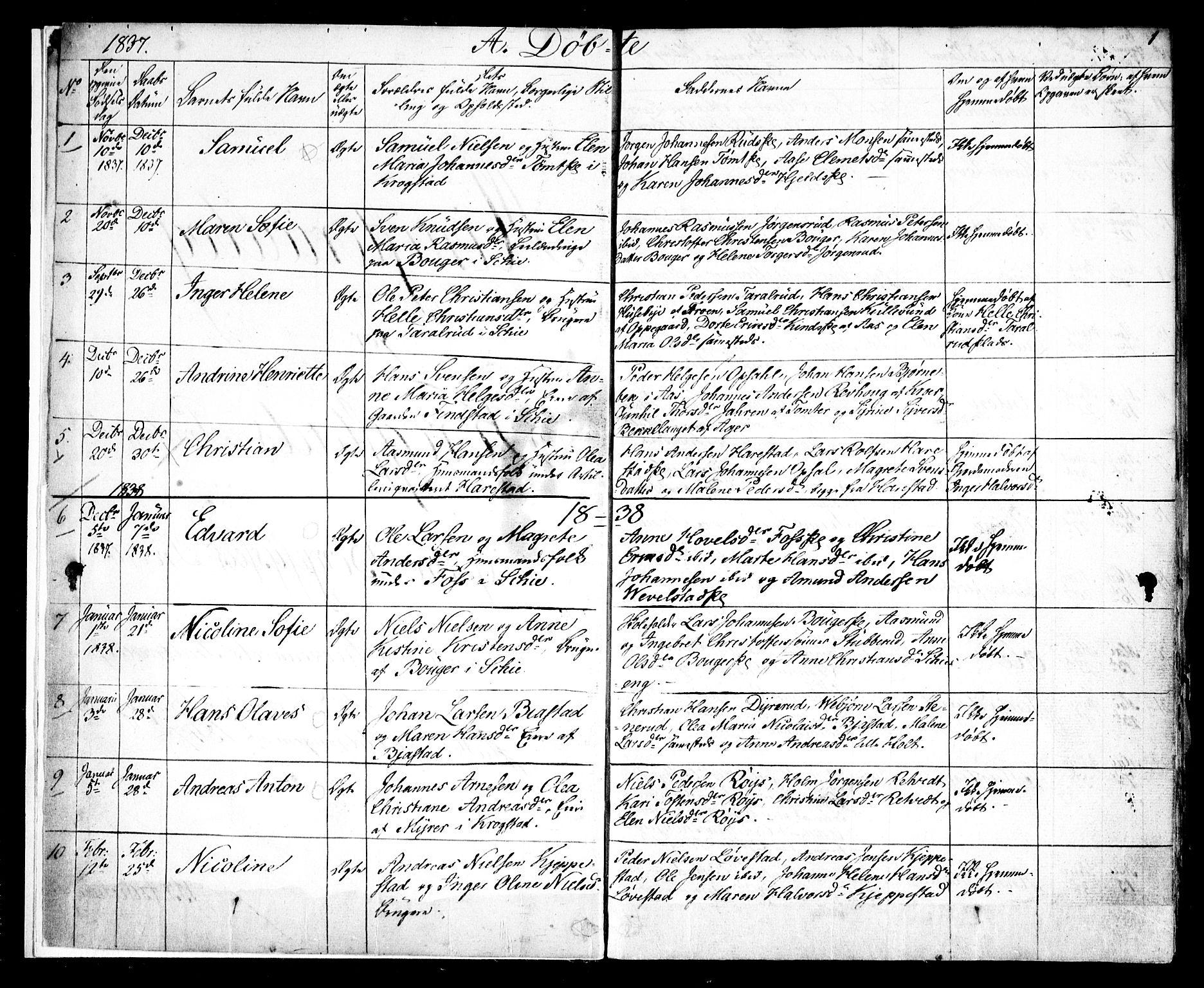 SAO, Kråkstad prestekontor Kirkebøker, F/Fa/L0005: Ministerialbok nr. I 5, 1837-1847, s. 1