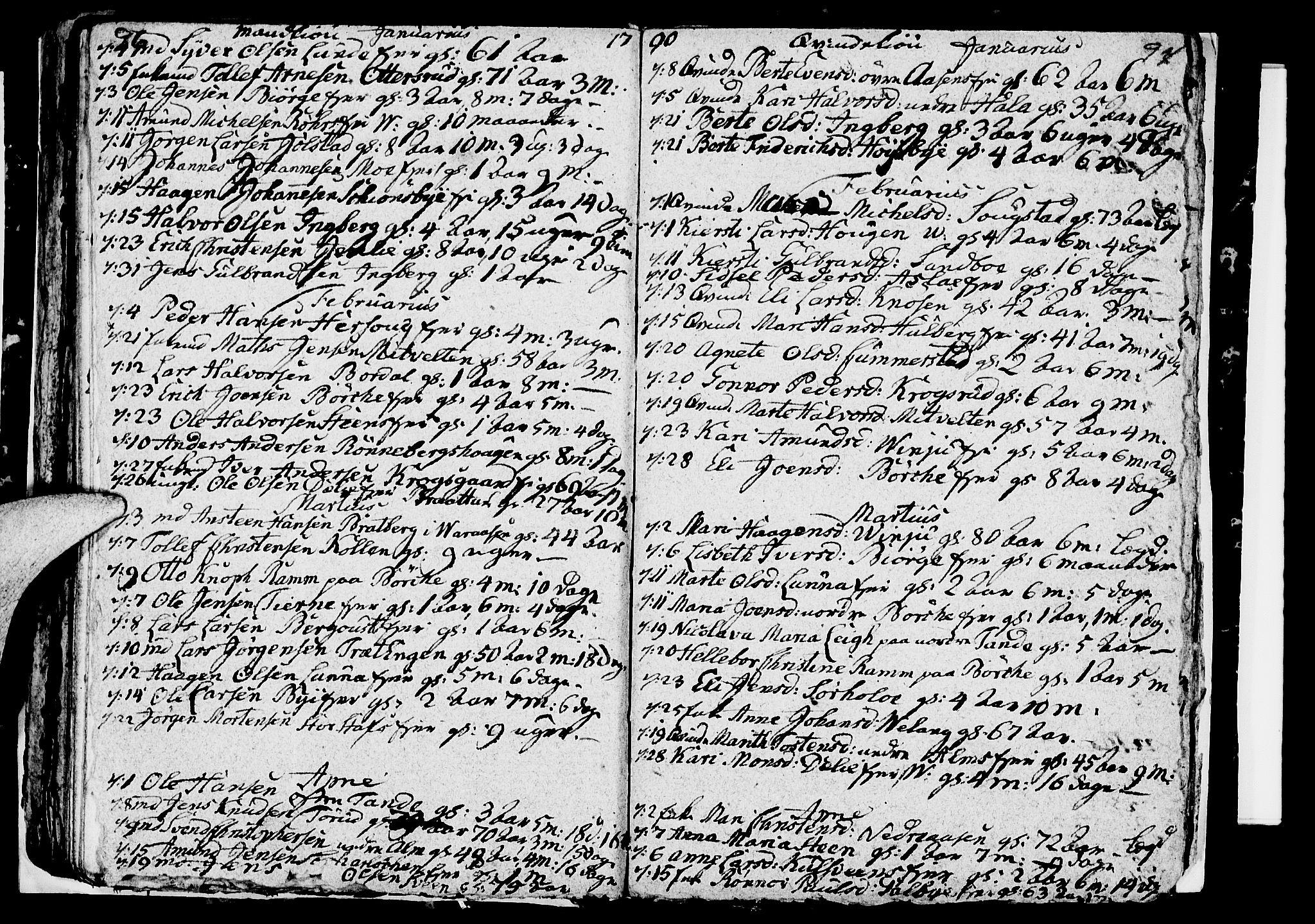 SAH, Ringsaker prestekontor, I/Ia/L0005/0005: Kladd til kirkebok nr. 1E, 1790-1792, s. 96-97