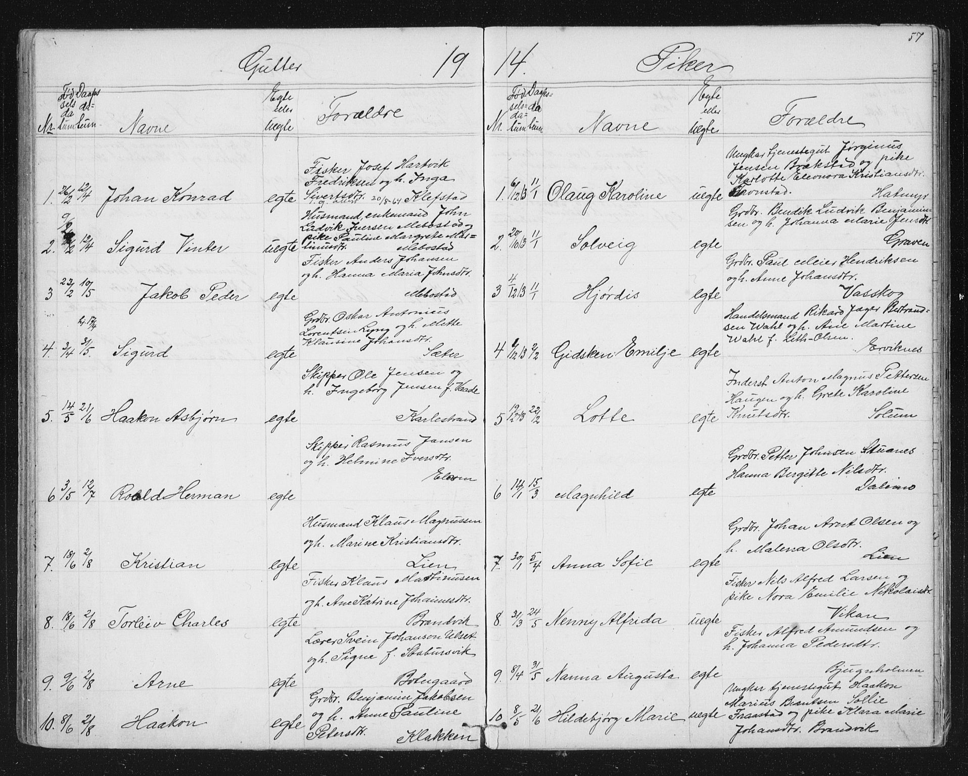 SAT, Ministerialprotokoller, klokkerbøker og fødselsregistre - Sør-Trøndelag, 651/L0647: Klokkerbok nr. 651C01, 1866-1914, s. 57