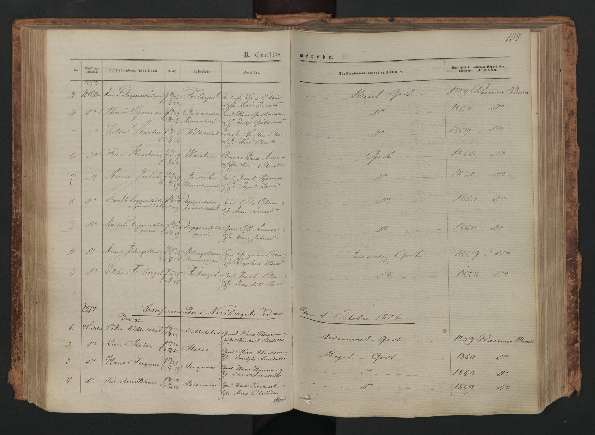 SAH, Skjåk prestekontor, Ministerialbok nr. 1, 1863-1879, s. 158