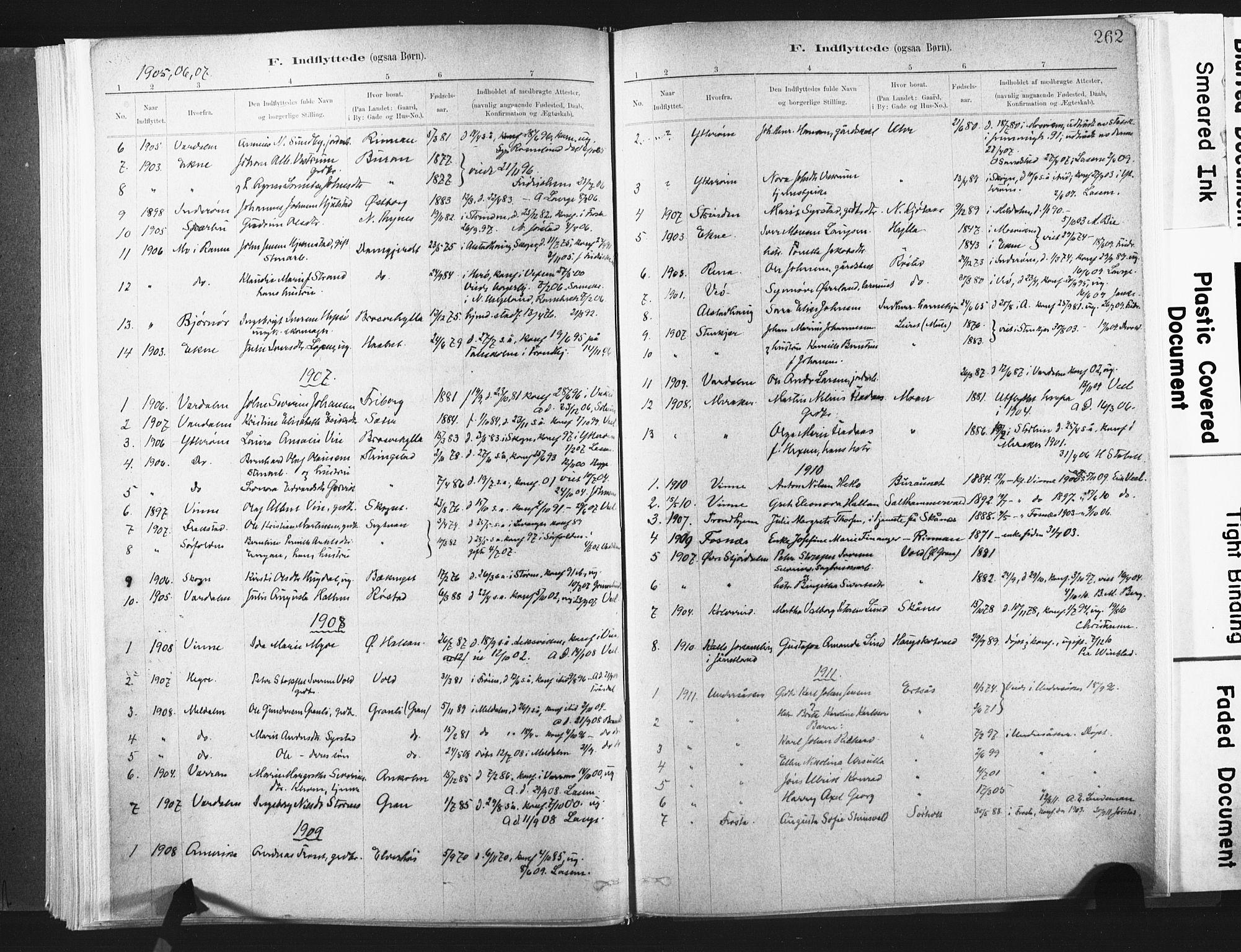 SAT, Ministerialprotokoller, klokkerbøker og fødselsregistre - Nord-Trøndelag, 721/L0207: Ministerialbok nr. 721A02, 1880-1911, s. 262