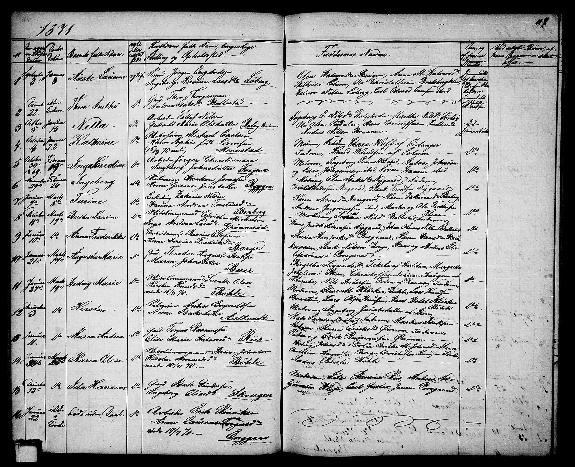 SAKO, Gjerpen kirkebøker, G/Ga/L0001: Klokkerbok nr. I 1, 1864-1882, s. 117