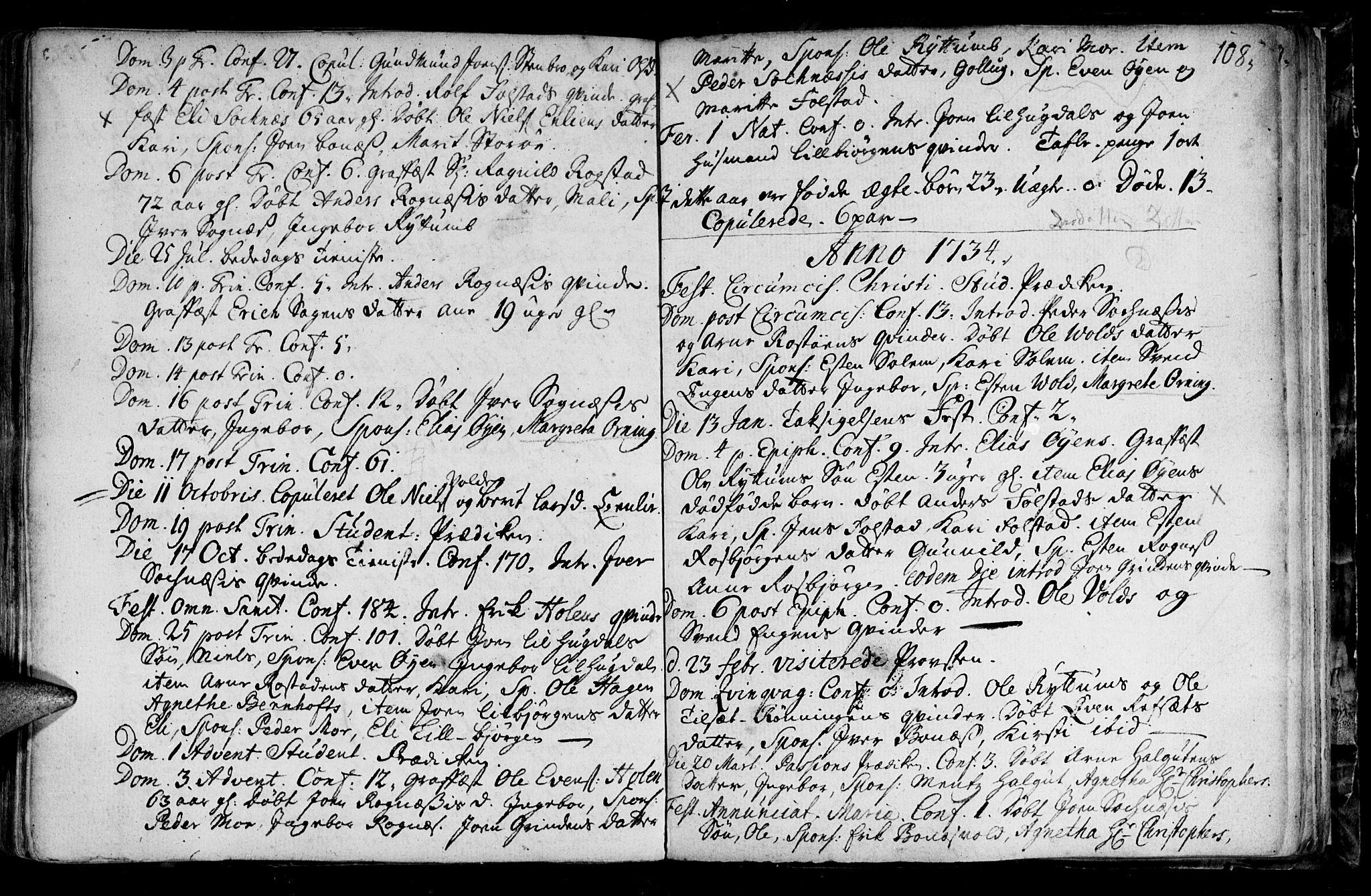 SAT, Ministerialprotokoller, klokkerbøker og fødselsregistre - Sør-Trøndelag, 687/L0990: Ministerialbok nr. 687A01, 1690-1746, s. 108