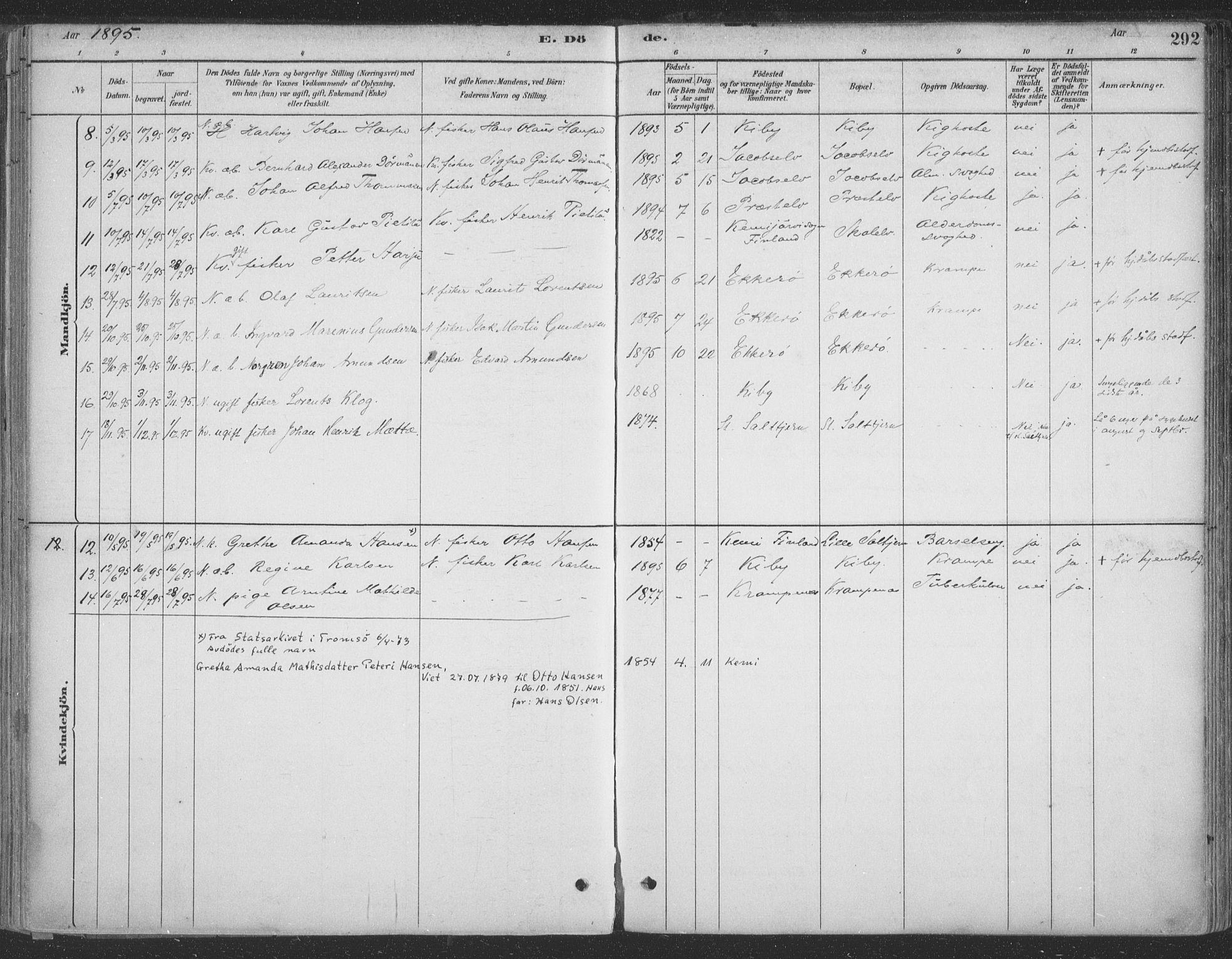 SATØ, Vadsø sokneprestkontor, H/Ha/L0009kirke: Ministerialbok nr. 9, 1881-1917, s. 292