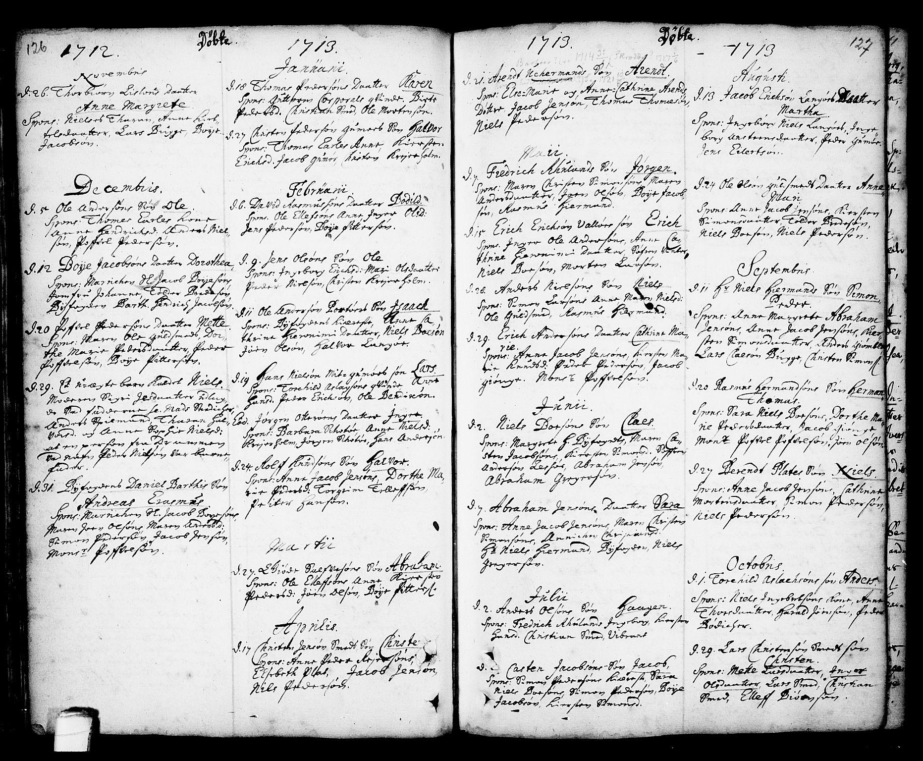 SAKO, Kragerø kirkebøker, F/Fa/L0001: Ministerialbok nr. 1, 1702-1766, s. 126-127