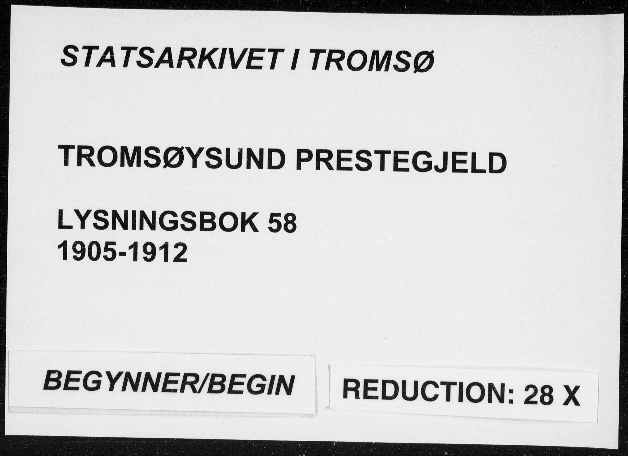 SATØ, Tromsøysund sokneprestkontor, H/Hc/L0058: Lysningsprotokoll nr. 58, 1905-1912