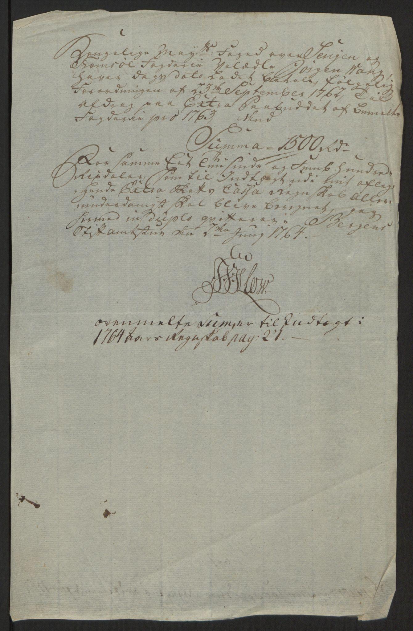 RA, Rentekammeret inntil 1814, Reviderte regnskaper, Fogderegnskap, R68/L4845: Ekstraskatten Senja og Troms, 1762-1765, s. 481