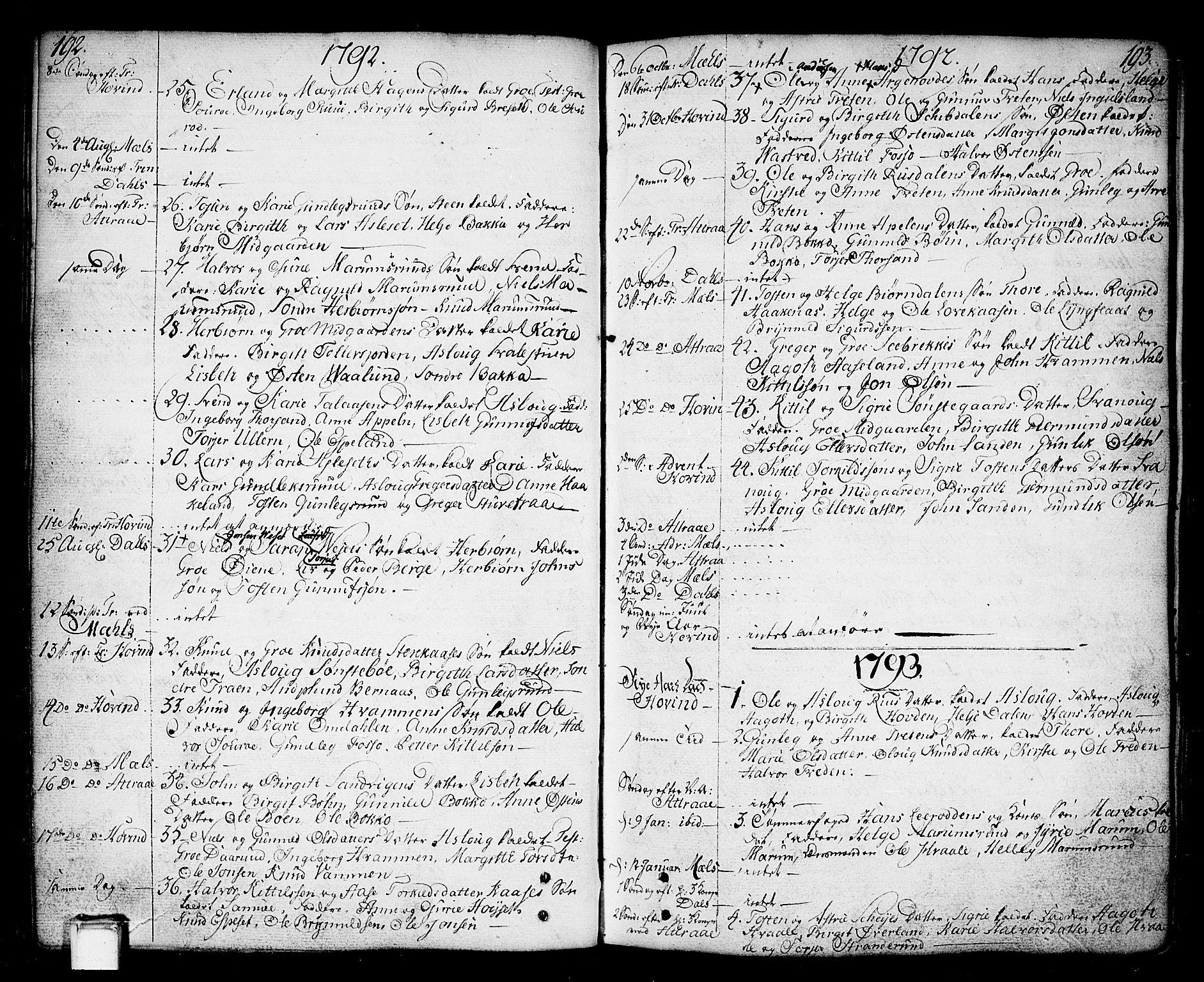 SAKO, Tinn kirkebøker, F/Fa/L0002: Ministerialbok nr. I 2, 1757-1810, s. 192-193