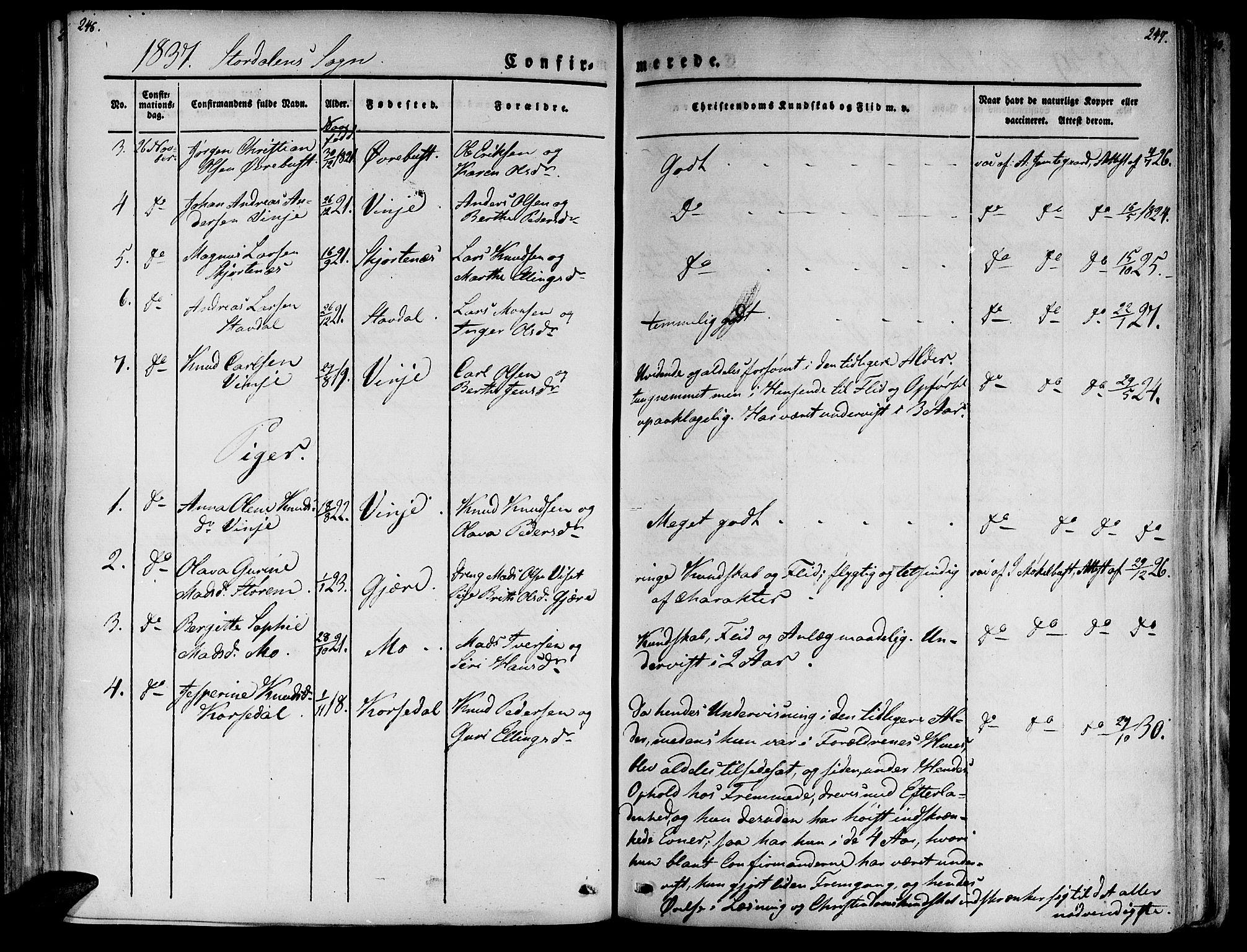 SAT, Ministerialprotokoller, klokkerbøker og fødselsregistre - Møre og Romsdal, 520/L0274: Ministerialbok nr. 520A04, 1827-1864, s. 246-247