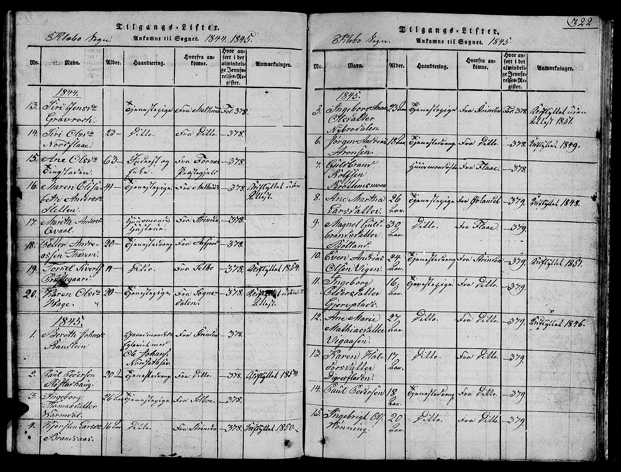 SAT, Ministerialprotokoller, klokkerbøker og fødselsregistre - Sør-Trøndelag, 618/L0450: Klokkerbok nr. 618C01, 1816-1865, s. 322