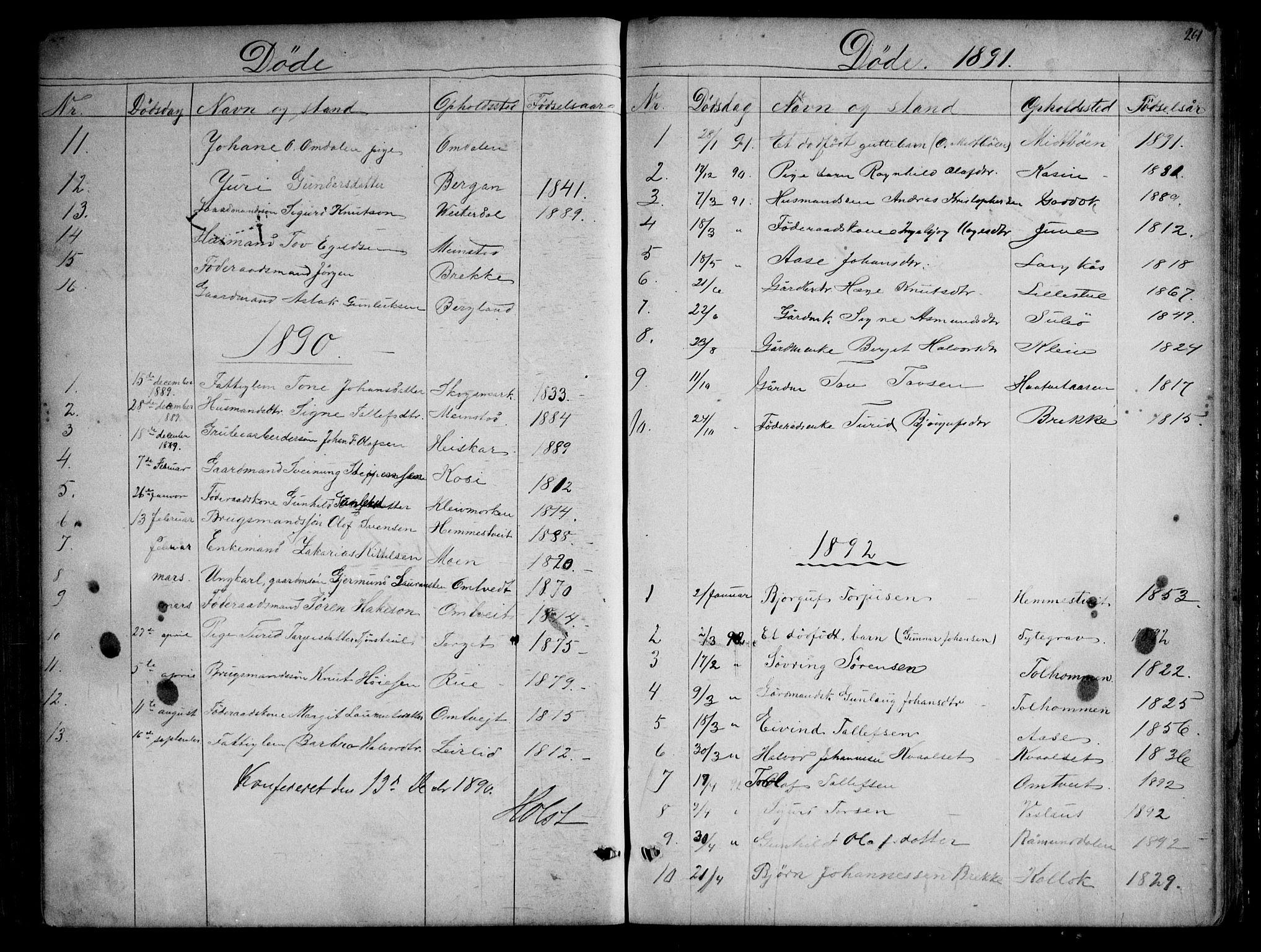 SAKO, Kviteseid kirkebøker, G/Gb/L0002: Klokkerbok nr. II 2, 1850-1892, s. 261