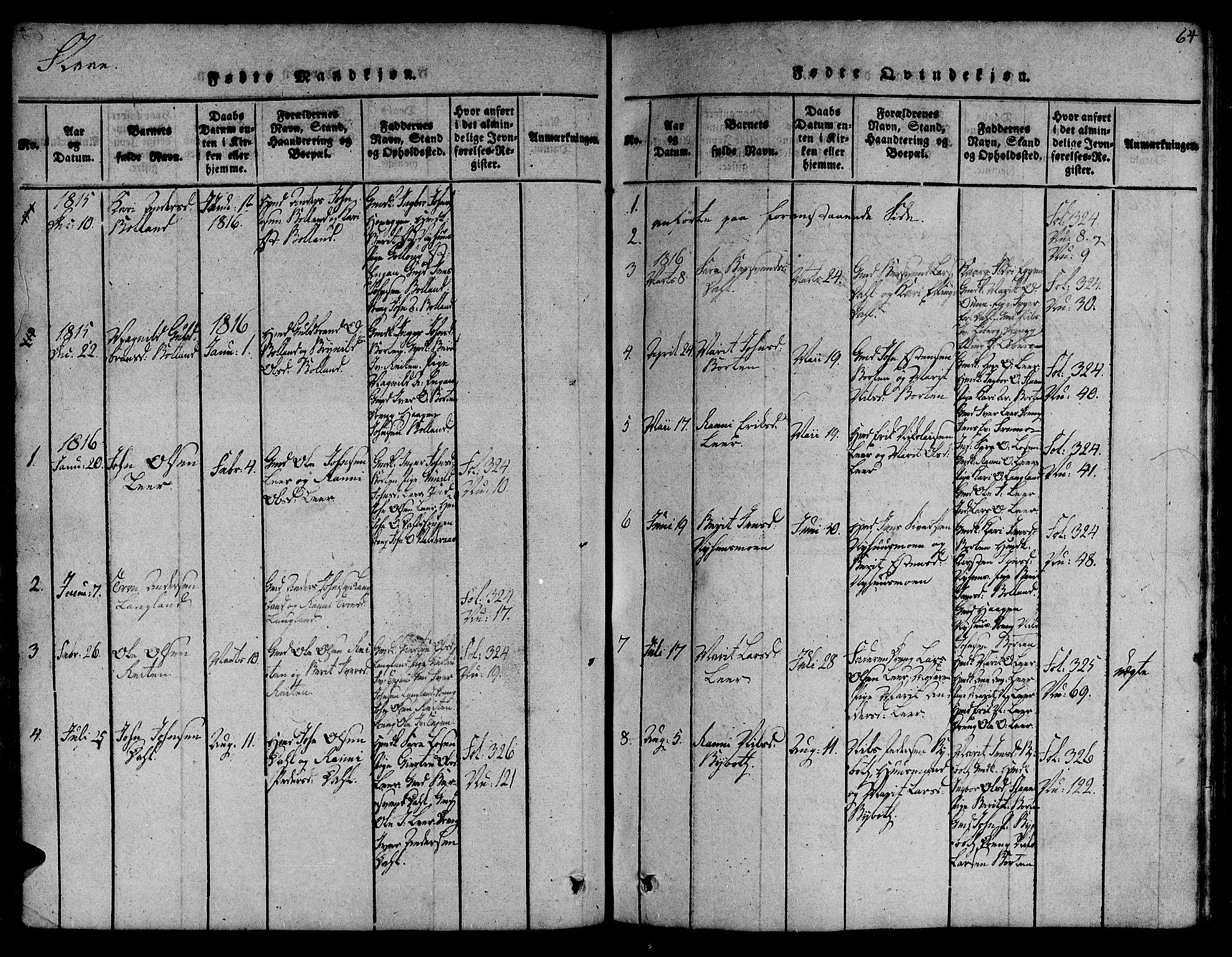 SAT, Ministerialprotokoller, klokkerbøker og fødselsregistre - Sør-Trøndelag, 691/L1066: Ministerialbok nr. 691A03 /2, 1816-1826, s. 64