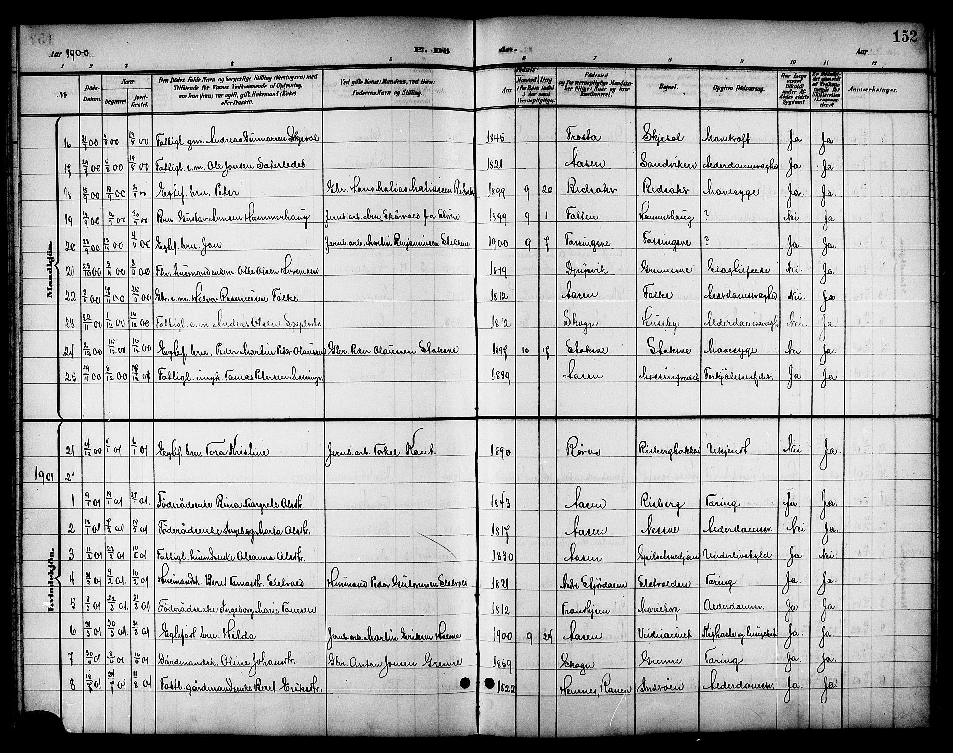 SAT, Ministerialprotokoller, klokkerbøker og fødselsregistre - Nord-Trøndelag, 714/L0135: Klokkerbok nr. 714C04, 1899-1918, s. 152