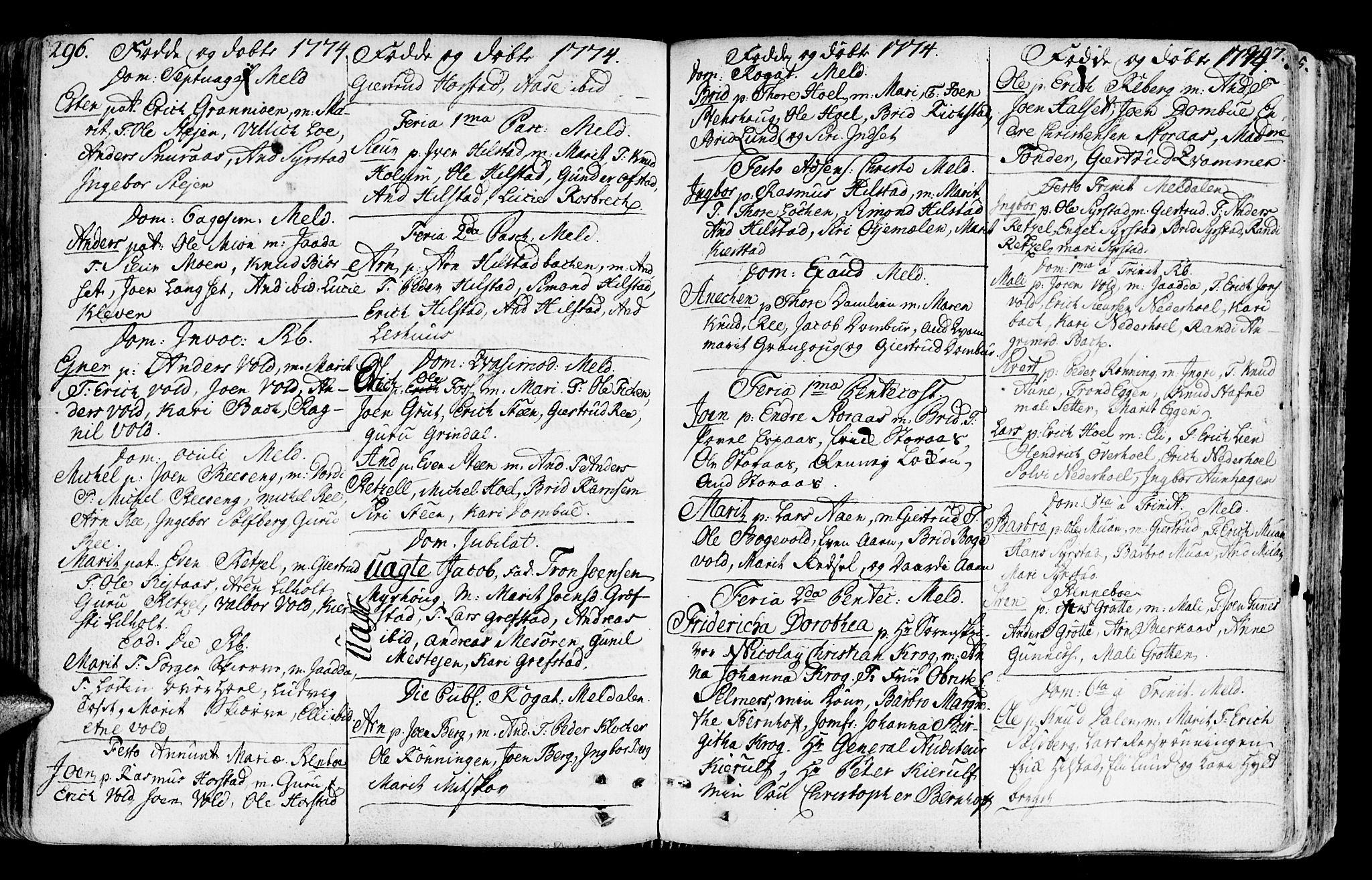 SAT, Ministerialprotokoller, klokkerbøker og fødselsregistre - Sør-Trøndelag, 672/L0851: Ministerialbok nr. 672A04, 1751-1775, s. 296-297