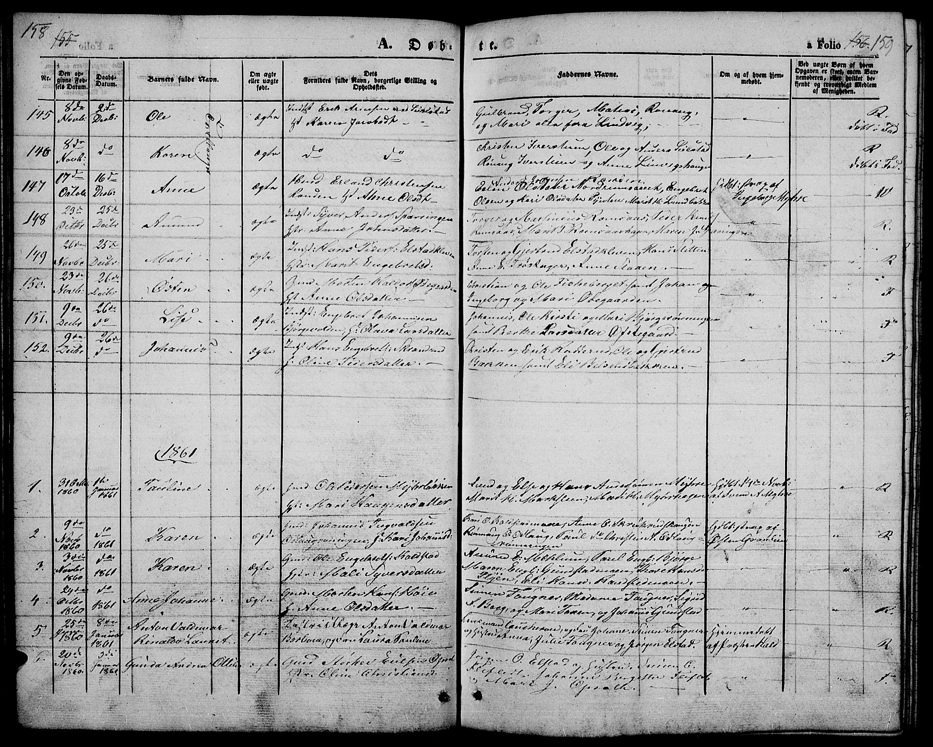 SAH, Ringebu prestekontor, Klokkerbok nr. 3, 1854-1866, s. 158-159