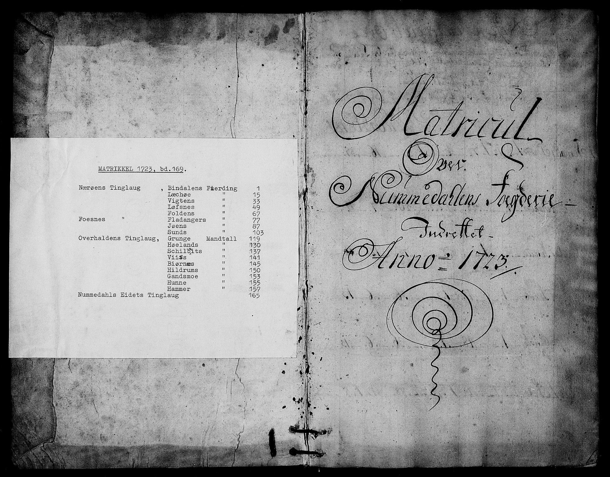 RA, Rentekammeret inntil 1814, Realistisk ordnet avdeling, N/Nb/Nbf/L0169: Namdalen matrikkelprotokoll, 1723, s. upaginert
