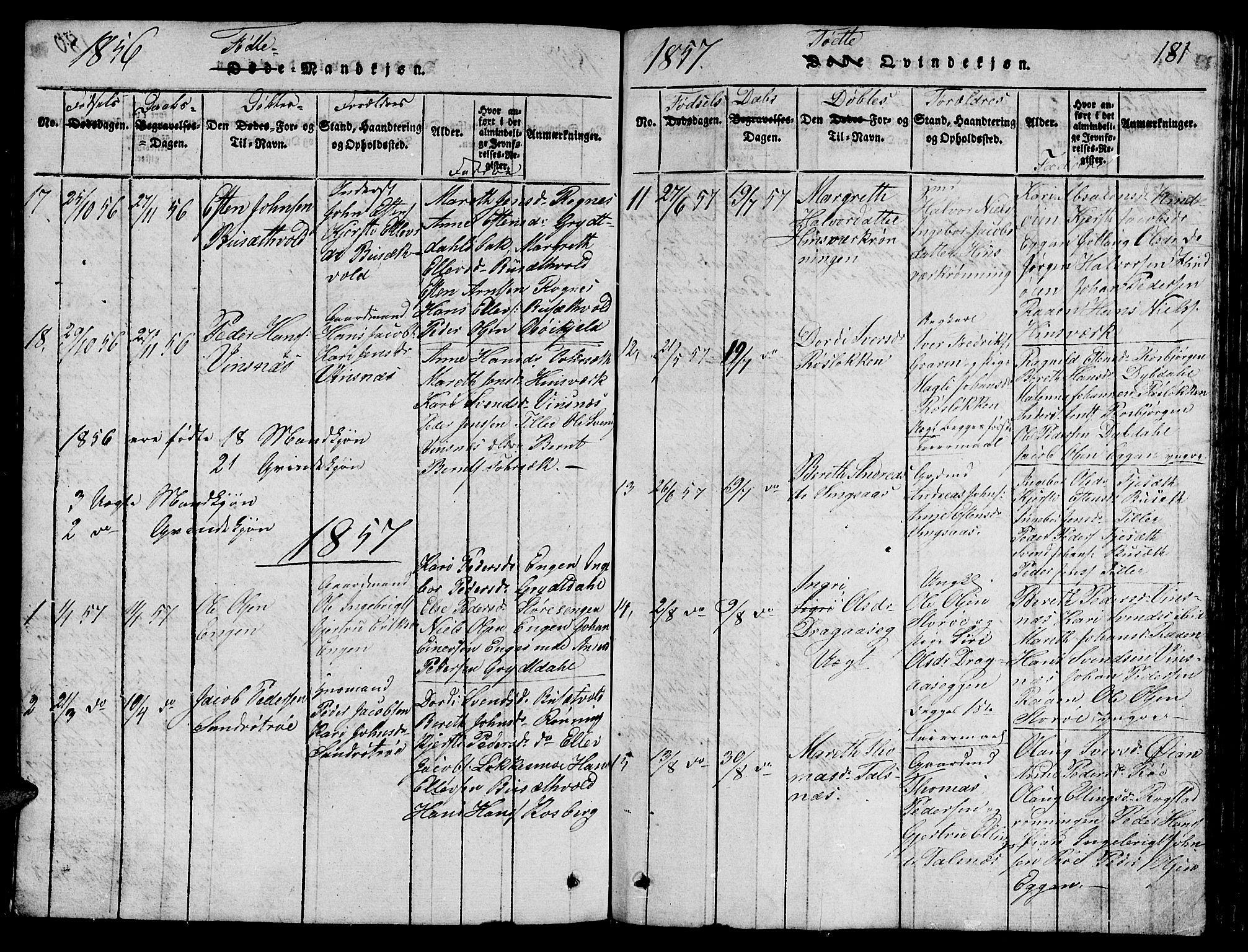 SAT, Ministerialprotokoller, klokkerbøker og fødselsregistre - Sør-Trøndelag, 688/L1026: Klokkerbok nr. 688C01, 1817-1860, s. 181